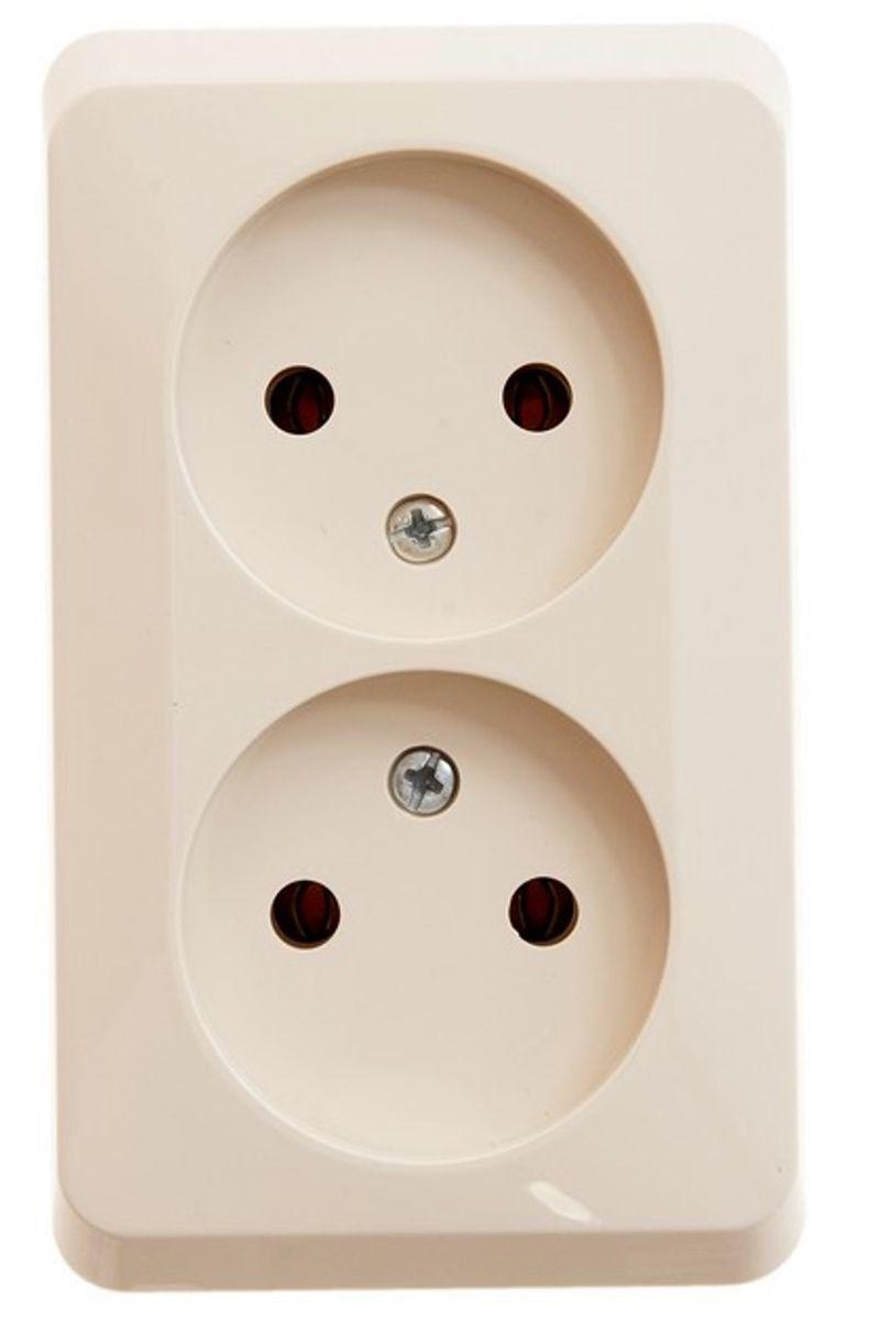 Розетка двойная Schneider Electric Этюд, цвет: кремовый. PA16-005KPA16-005KДвойная розетка Schneider Electric Этюд без заземляющего контакта, без шторок, открытой установки. Тип розетки С (евророзетка).