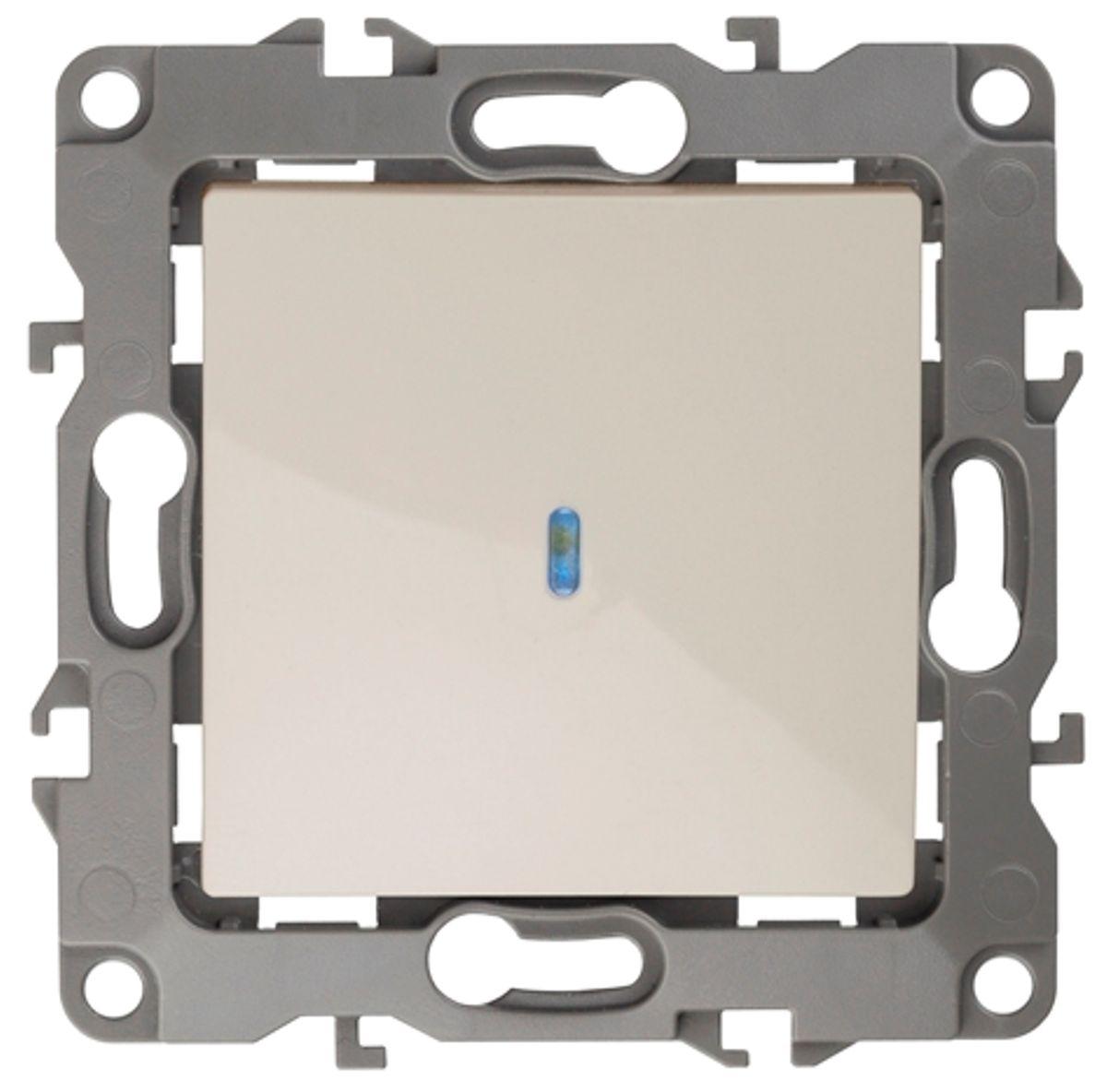 """Выключатель """"ЭРА"""", с подсветкой, цвет: слоновая кость, серый. 12-1102 12-1102-02"""