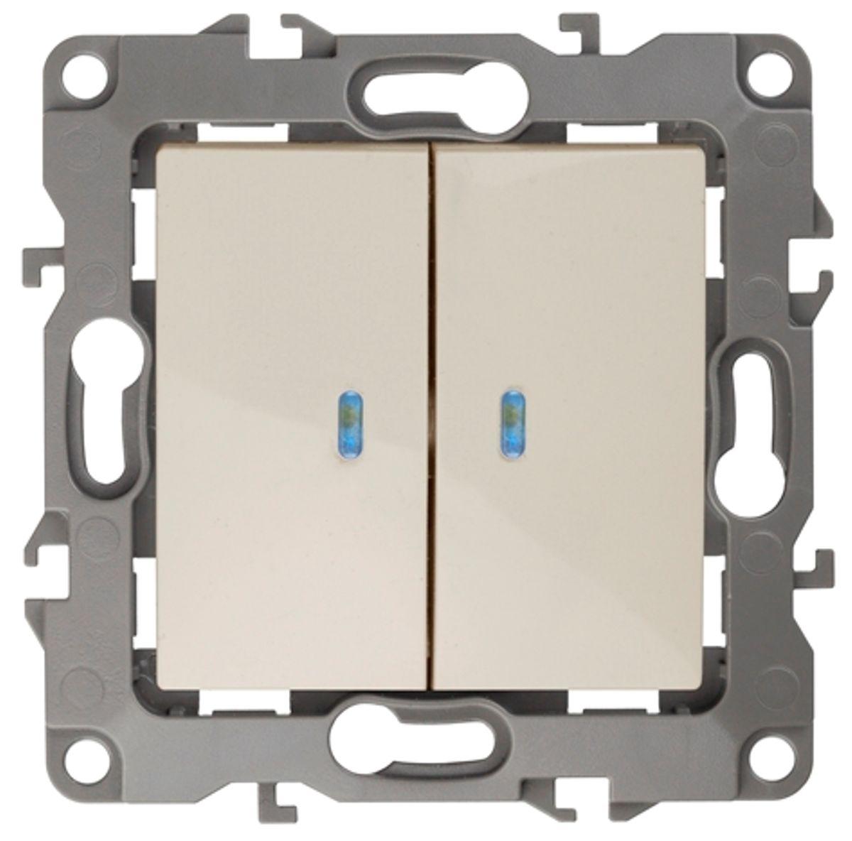 Выключатель ЭРА, двойной, с подсветкой, цвет: слоновая кость, серый. 12-1105-0212-1105-02Двойной выключатель ЭРА выполнен из прочного поликарбоната, контакты - бронзовые. Световой индикатор на клавишах поможет вам разглядеть выключатель даже в темноте. Выключатель имеет специальные фиксаторы, которые не дают ему смещаться как при монтаже, так и в процессе эксплуатации. Автоматические зажимы кабеля обеспечивают быстрый и надежный монтаж изделия к электросети без отвертки и не требуют обслуживания в отличие от винтовых зажимов.