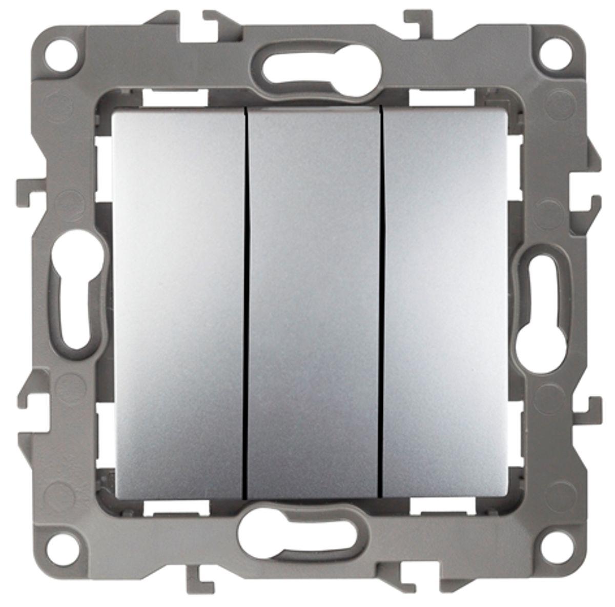 Выключатель ЭРА, тройной, цвет: серый. 12-110712-1107-03Тройной выключатель ЭРА выполнен из прочного пластика, контакты бронзовые. Изделие просто в установке, надежно в эксплуатации. Выключатель имеет специальные фиксаторы, которые не дают ему смещаться как при монтаже, так и в процессе эксплуатации. Автоматические зажимы кабеля обеспечивают быстрый и надежный монтаж изделия к электросети без отвертки и не требуют обслуживания в отличие от винтовых зажимов.