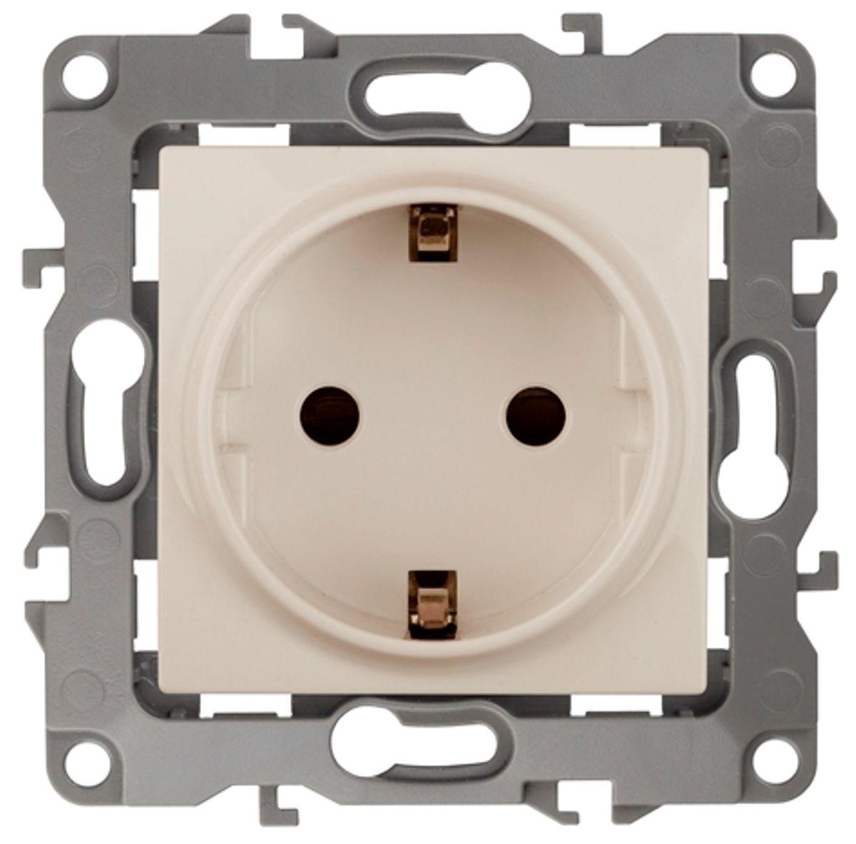 Розетка одинарная Эра, со шторками, цвет: слоновая кость. 12-2102-0212-2102-02Одинарная розетка Эра с заземлением, скрытой установки, со шторками, имеет бронзовые контакты и фиксаторы модулей. Автоматические зажимы кабеля обеспечивают быстрый и надежный монтаж изделия к электросети без отвертки и не требуют обслуживания в отличие от винтовых зажимов.