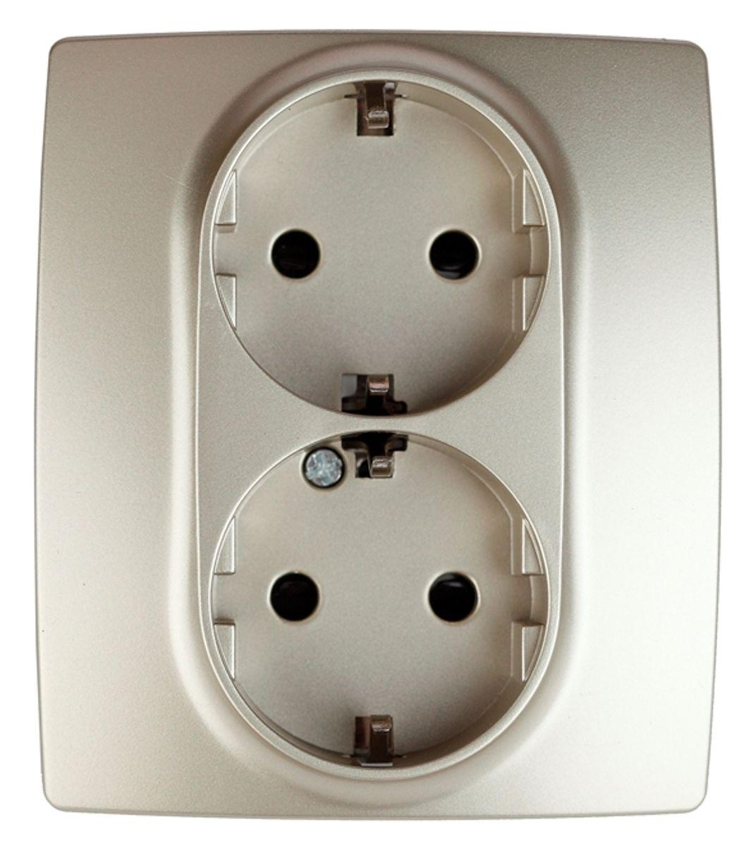 Розетка двойная Эра, со шторками, с заземлением, цвет: шампань12-2104-04Двойная розетка Эра со шторками, с заземлением и скрытой установкой. Автоматические зажимы кабеля обеспечивают быстрый и надежный монтаж изделия к электросети без отвертки и не требуют обслуживания в отличие от винтовых зажимов.