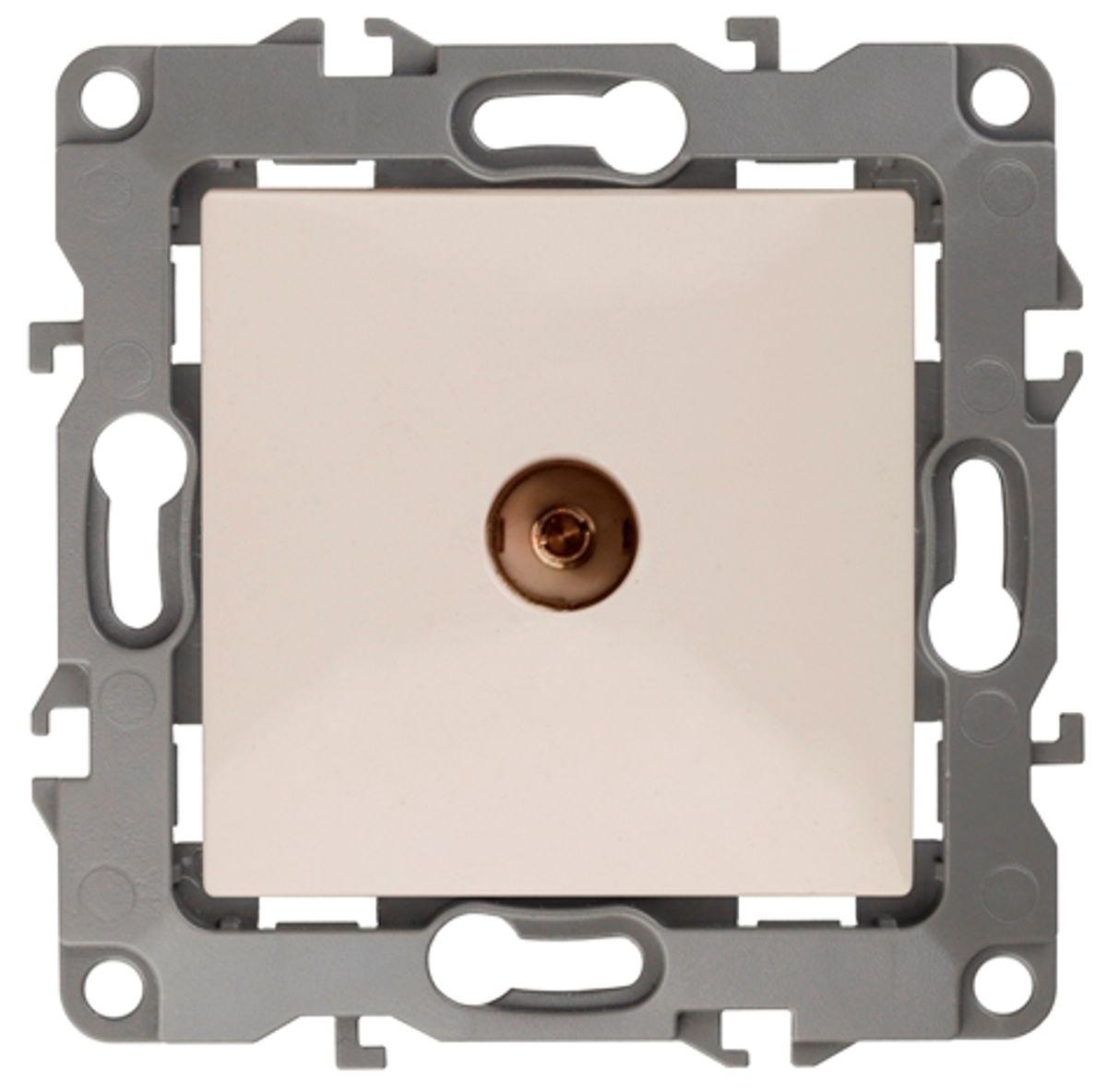Розетка телевизионная Эра, цвет: слоновая кость12-3101-02Розетка телевизионная Эра одиночная, скрытой установки, имеет бронзовые контакты и фиксаторы модулей. Предназначена для передачи ТВ сигналов из антенной сети к ТВ-приемникам. Использование телевизионной розетки позволяет скрыть антенный кабель, обезопасить его от повреждений и избавиться от болтающихся проводов.