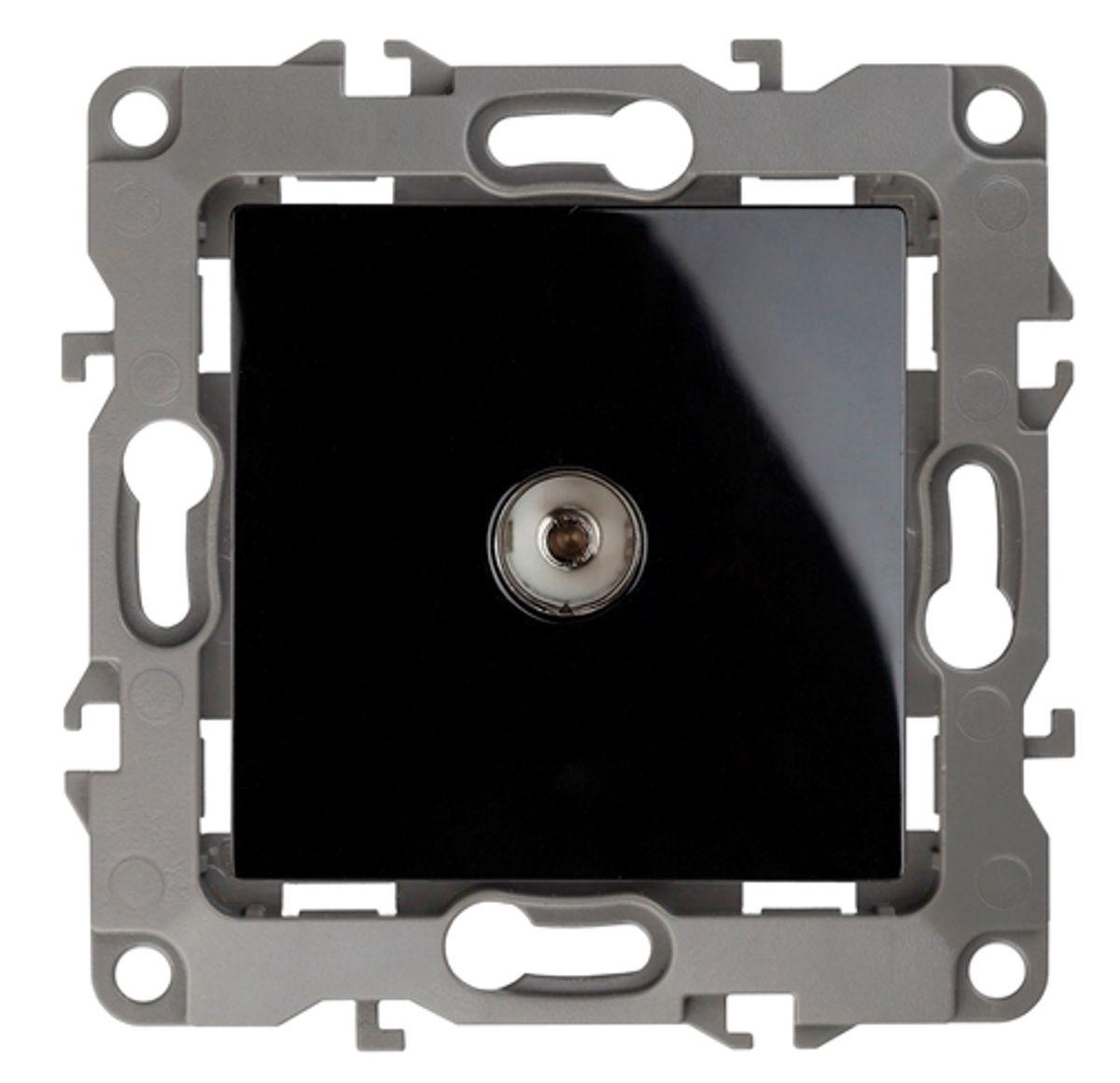 Розетка телевизионная Эра, цвет: черный12-3101-06Розетка телевизионная Эра одиночная, скрытой установки, имеет бронзовые контакты и фиксаторы модулей. Предназначена для передачи ТВ сигналов из антенной сети к ТВ-приемникам. Использование телевизионной розетки позволяет скрыть антенный кабель, обезопасить его от повреждений и избавиться от болтающихся проводов.