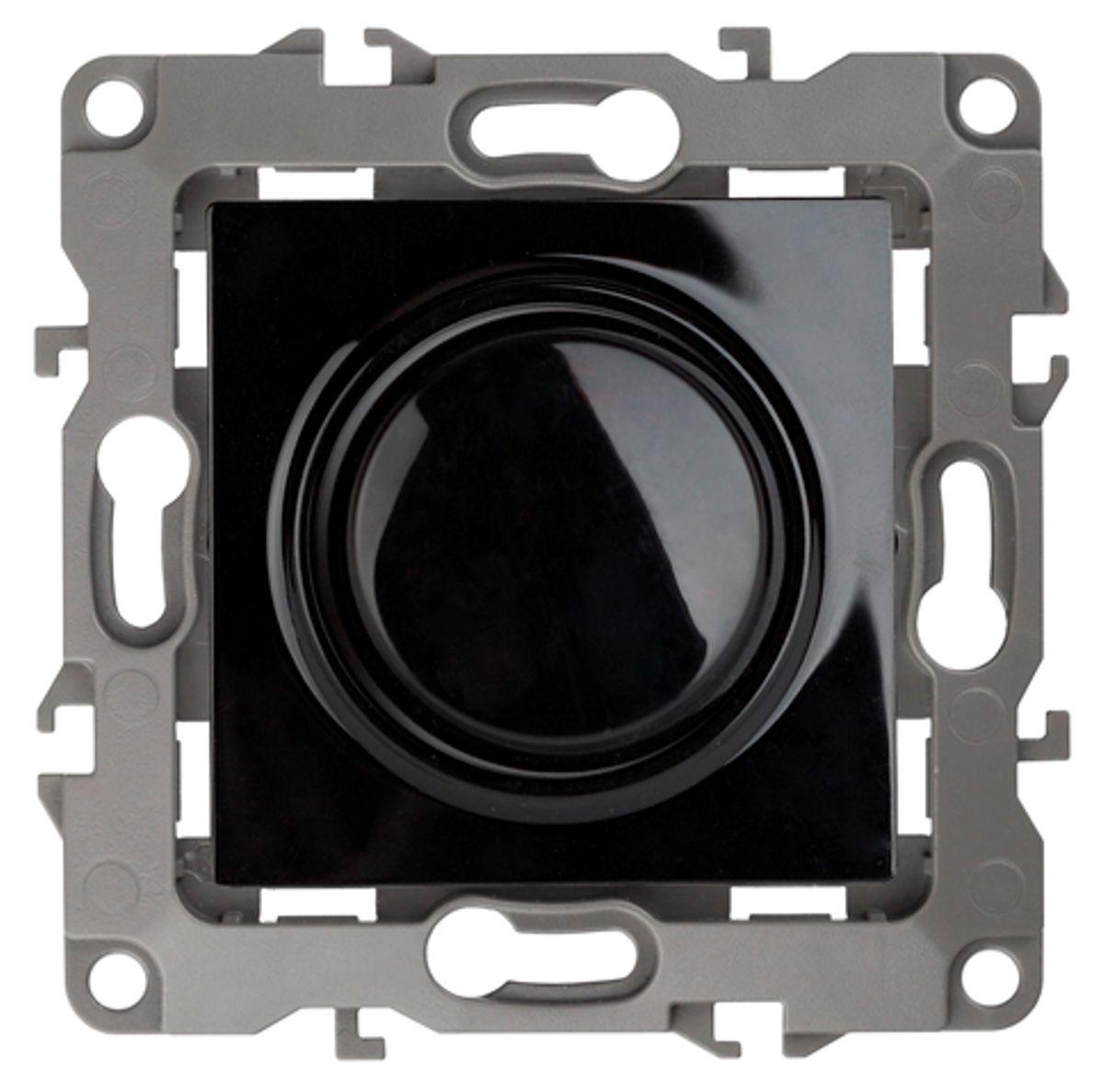 Светорегулятор поворотно-нажимной ЭРА, цвет: черный, серый. 12-410112-4101-06Поворотно-нажимной светорегулятор ЭРА выполнен из прочного пластика, контакты бронзовые. Включение и выключение производится нажатием на кнопку диммера. Регулировка освещения производится во включенном состоянии. Подходит для ламп накаливания, галогеновых ламп и диммируемых LED ламп. Изделие имеет специальные фиксаторы, которые не дают ему смещаться как при монтаже, так и в процессе эксплуатации. Автоматические зажимы кабеля обеспечивают быстрый и надежный монтаж изделия к электросети без отвертки и не требуют обслуживания в отличие от винтовых зажимов.
