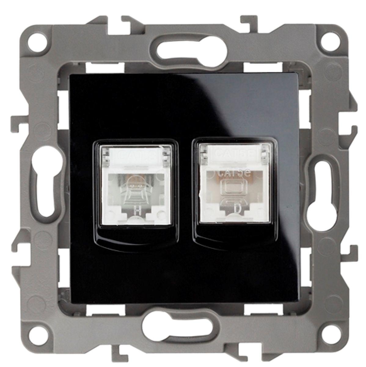 Розетка ЭРА информационная+телефонная RJ45+RJ11, Эра12, черный12-3109-06Экспресс-монтаж витой пары