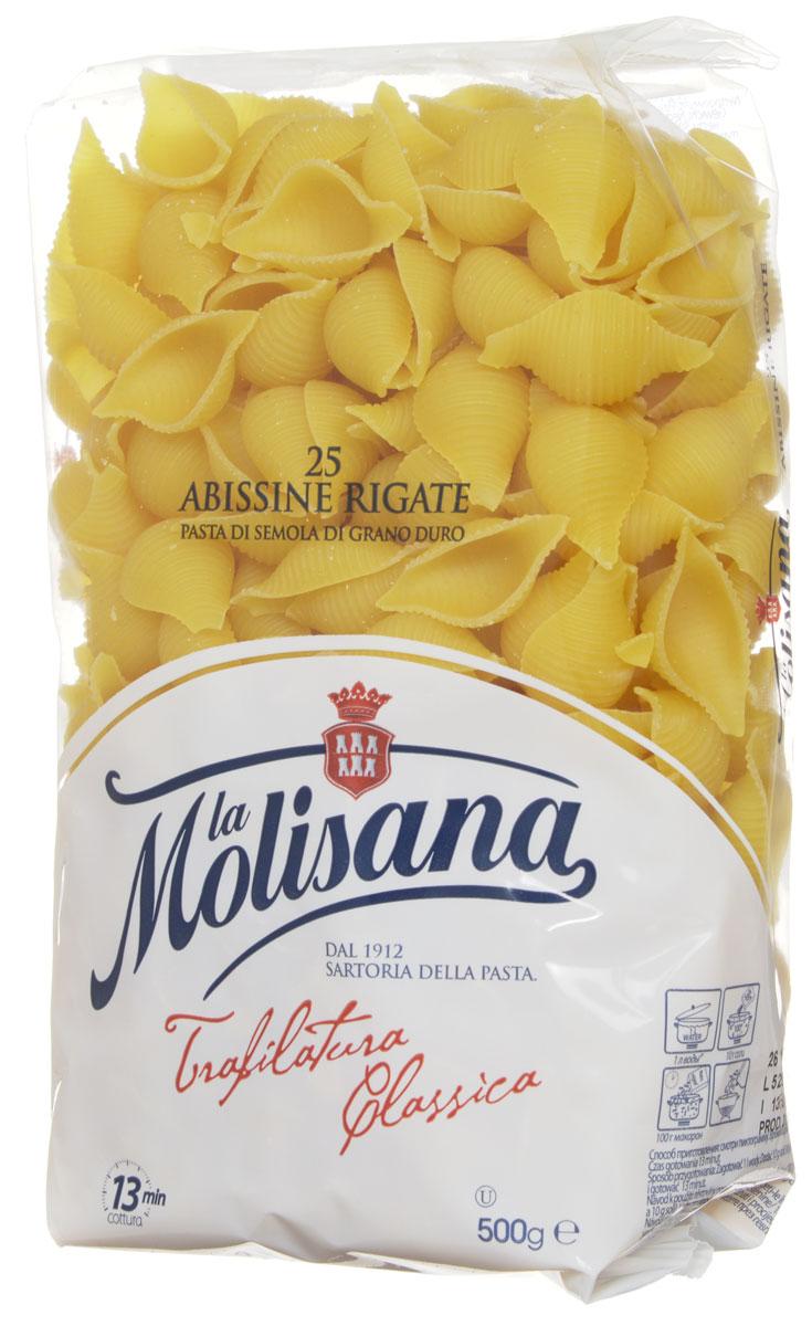 La Molisana Abissine Rigate ракушки рифленые макаронные изделия 500 г0190012Макароны - ракушки La Molisana Abissine Rigate высшего сорта изготовлены из муки твердых сортов, содержащей чуть меньшее количество клейковины, чем обыкновенная мука. Она хорошо поглощает воду, макароны из нее при варке увеличиваются и не развариваются. Эти макаронные изделия станут великолепным гарниром в сочетании с разнообразными соусами или отличным самостоятельным блюдом для истинных любителей итальянских макарон!