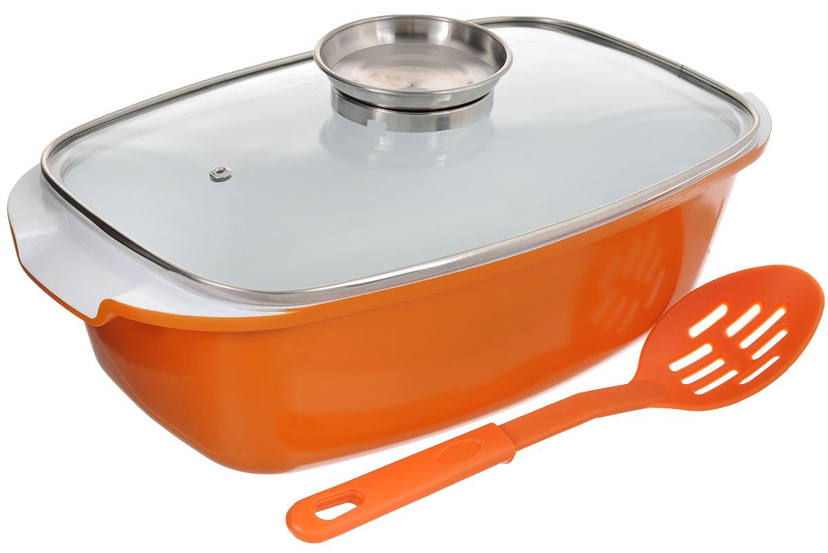 Жаровня Barton Steeel с крышкой, с керамическим покрытием, с ложкой, цвет: белый, оранжевый, 5,5 л6801BS/NEW_оранжевыйЖаровня Barton Steeel изготовлена из алюминия с трехслойной системой антипригарного керамического покрытия. Алюминиевое дно равномерно распределяет тепло по поверхности посуды и доводит блюдо до полной готовности. Литые ручки обеспечивают удобство при эксплуатации. Специальная форма кромки в комбинации с крышкой обеспечивает максимальную герметизацию. Прозрачная крышка, выполненная из термостойкого стекла, позволяет следить за процессом приготовления пищи. Она оснащена ручкой-воронкой, которая разработана для подачи приправ к пище через микроотверстие, расположенное в центре. К жаровне прилагается нейлоновая поварская ложка с отверстиями. Жаровня подходит для газовых, электрических и стеклокерамических плит. Пригодна для мытья в посудомоечной машине. Объем жаровни: 5,5 л Длина жаровни с учетом ручек: 39 см. Ширина жаровни: 22 см. Высота жаровни без учета крышки: 11 см. Высота жаровни с учетом крышки: 16 см. Толщина стенок:...
