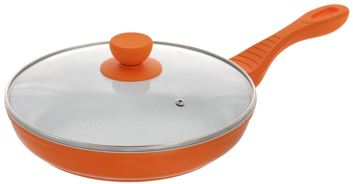 Сковорода Bohmann с крышкой, с керамическим покрытием, цвет: оранжевый. Диаметр 26 см. 7026BH/WC7026BH/WC_оранжевыйСковорода Bohmann изготовлена из литого алюминия с антипригарным керамическим покрытием белого цвета. Внешнее покрытие - жаростойкий лак, который сохраняет цвет долгое время. Благодаря керамическому покрытию пища не пригорает и не прилипает к поверхности сковороды, что позволяет готовить с минимальным количеством масла. Рифленая внутренняя поверхность сковороды обеспечивает быстрое и легкое приготовление. Достоинства керамического покрытия: - устойчивость к высоким температурам и резким перепадам температур, - устойчивость к царапающим кухонным принадлежностям и абразивным моющим средствам, - устойчивость к коррозии, - водоотталкивающий эффект, - покрытие способствует испарению воды во время готовки, - длительный срок службы, - безопасность для окружающей среды и человека. Сковорода быстро разогревается, распределяя тепло по всей поверхности, что позволяет готовить в энергосберегающем режиме, значительно сокращая...
