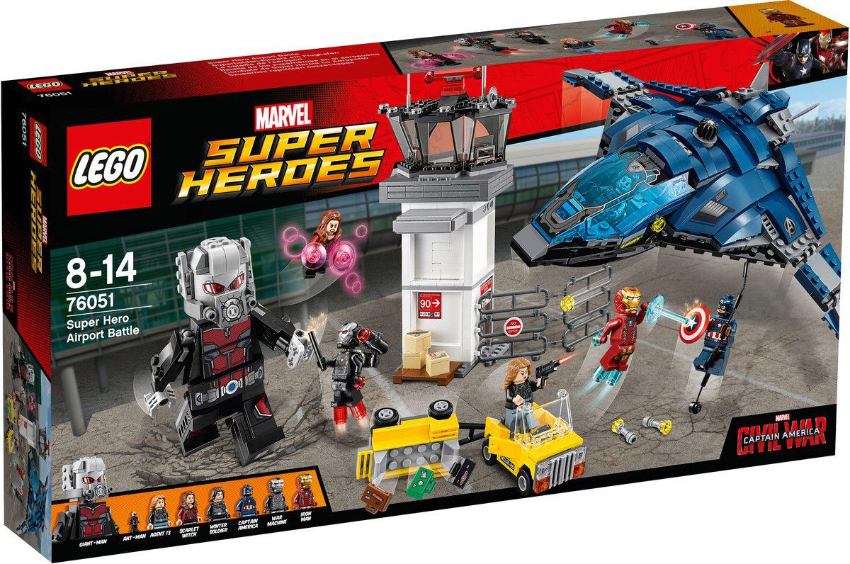 LEGO Super Heroes Конструктор Сражение в аэропорту 7605176051Объедините силы с Капитаном Америка, Алой ведьмой, Человеком-муравьем и Агентом 13 для того, чтобы помочь Зимнему солдату ускользнуть на потрясающем квинджете. Проникните в диспетчерскую башню через крошечное отверстие с помощью Человека-муравья и взорвите коробки перед башней. Нажмите на рычаг в офисе на втором этаже и взорвите стены. Поднимите чемоданы в воздух, взорвав багажную тележку, а потом превратите Человека-муравья в Великана и сразись с Железным человеком! Сбросьте крылья квинджета, поднимитесь в воздух и начните огонь из пушек. Скиньте Капитану Америка веревку и летите прочь! Набор включает в себя 807 разноцветных пластиковых элементов. Конструктор - это один из самых увлекательных и веселых способов времяпрепровождения. Ребенок сможет часами играть с конструктором, придумывая различные ситуации и истории.