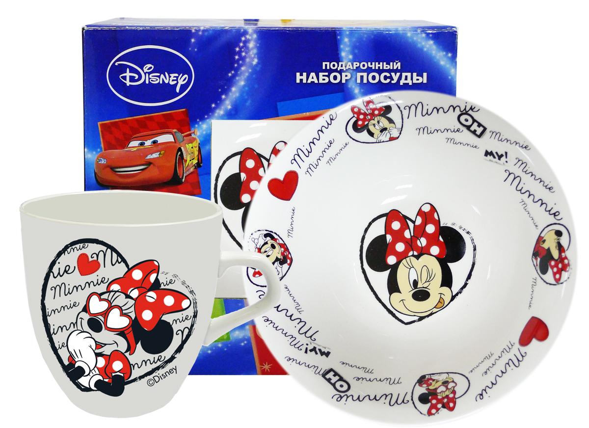 Набор детской посуды Минни, 2 предмета. MS2-2MS2-2Произведено по лицензии Walt Disney. Изготовлено из тонкой керамики. Набор из 2-х предметов МИННИ: кружка (270 мл) + суповая керамическая тарелка (O20см) в подарочной коробке.