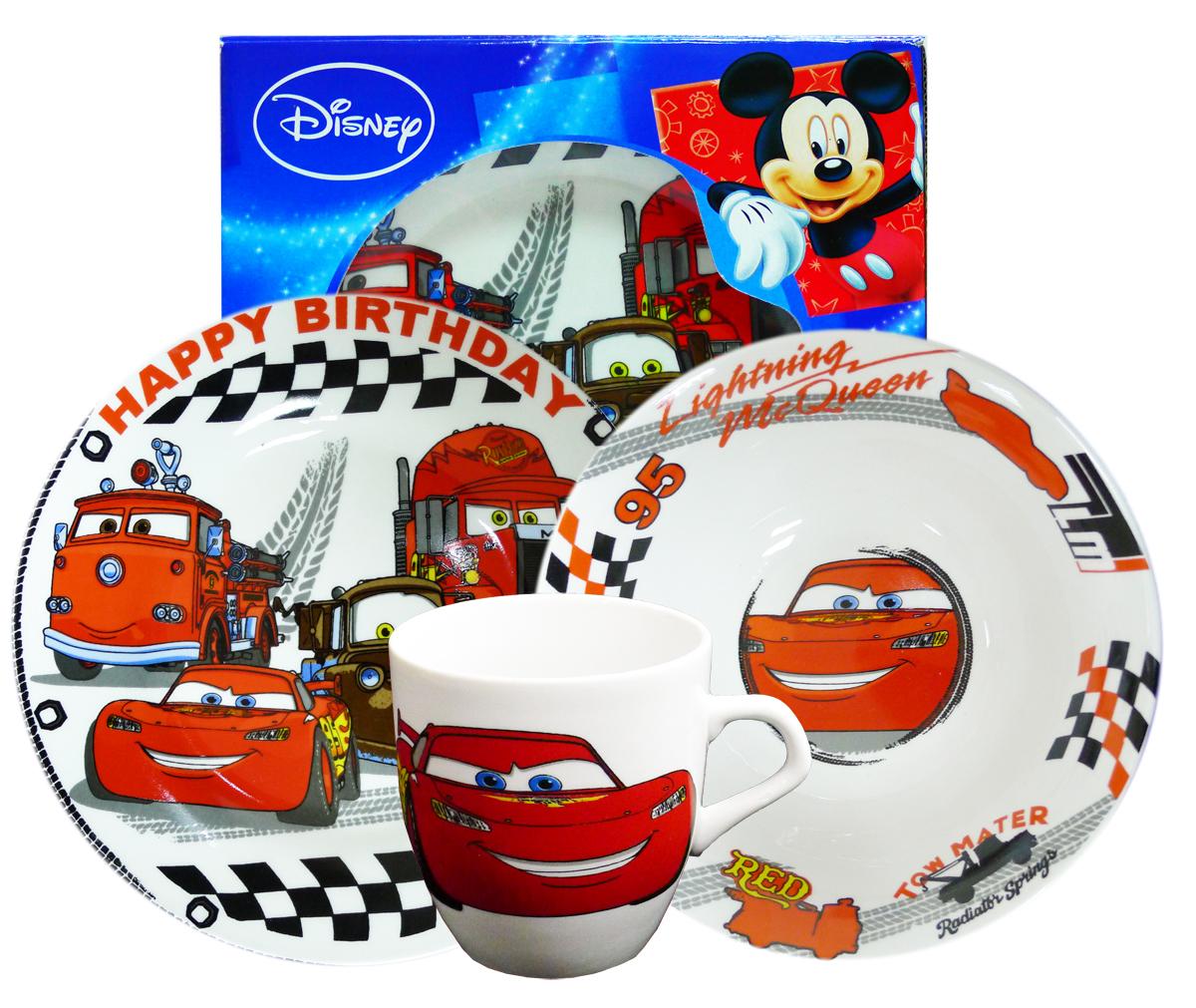 Набор детской посуды Тачки, 2 предмета. CS3-7CS3-7Произведено по лицензии Walt Disney. Изготовлено из тонкой керамики. Набор из 3-х керамических предметов ТАЧКИ: кружка (270 мл) + миска (O 18 см) + тарелка десертная (O 19 см) в подарочной коробке ТОНКАЯ КЕРАМИКА - ФАРФОР