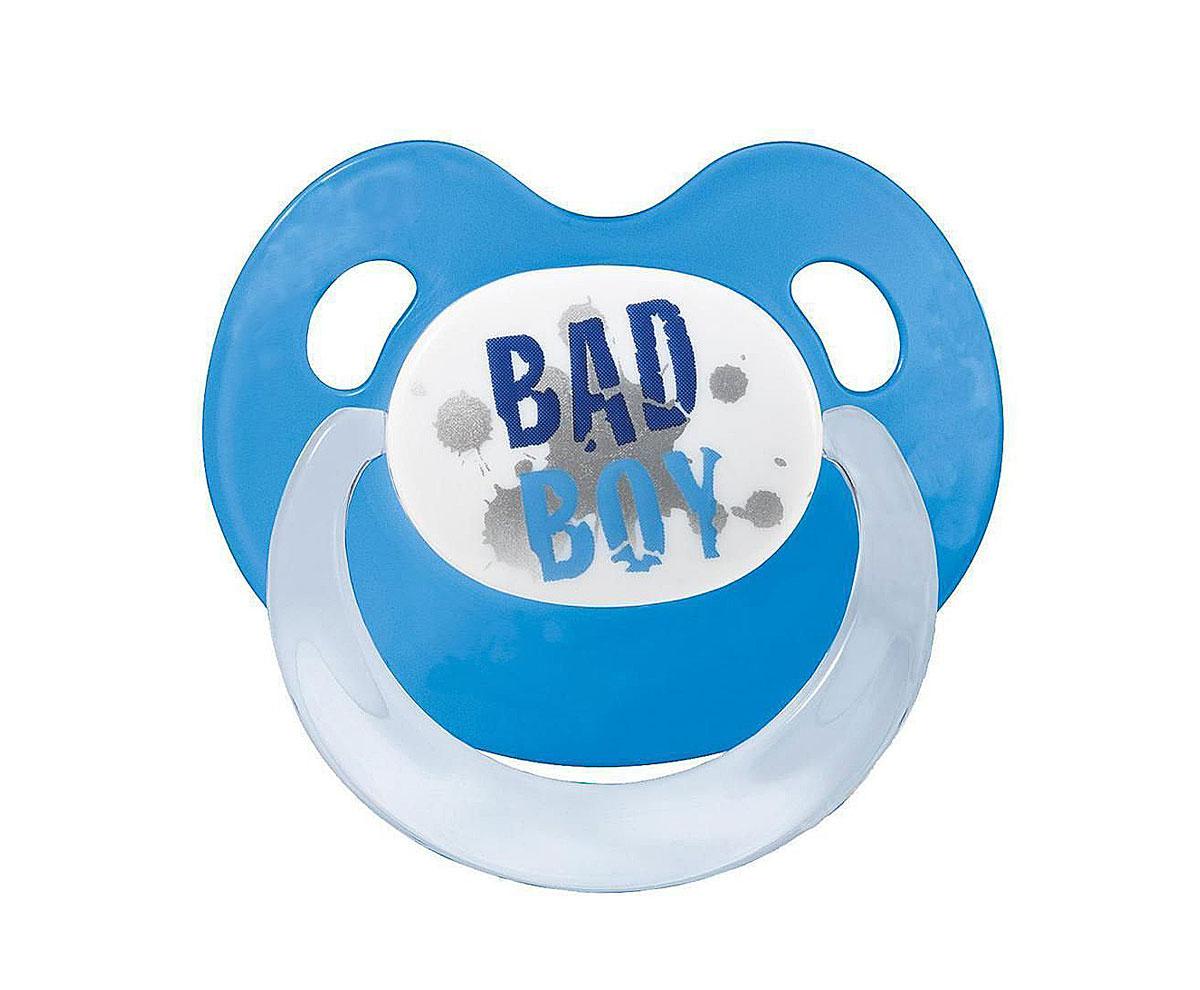 Bibi Пустышка силиконовая Bad Boy от 0 до 6 месяцев цвет синий