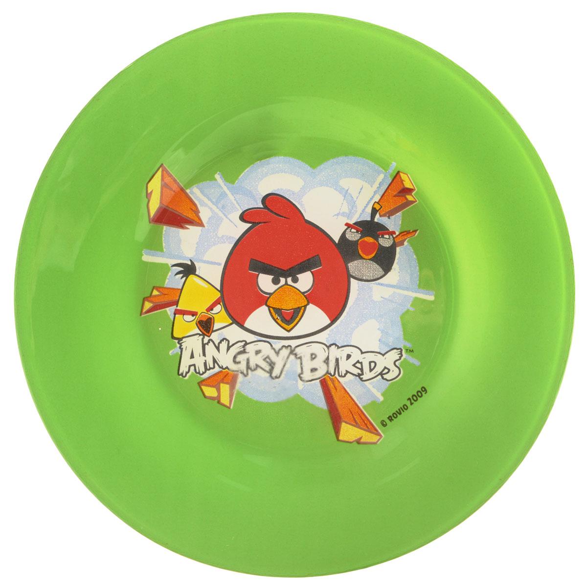 Angry Birds Тарелка детская цвет зеленый диаметр 19,5 см1066269Яркая тарелка Angry Birds идеально подойдет для кормления малыша и самостоятельного приема им пищи. Тарелка выполнена из закаленного стекла и оформлена высококачественным изображением героев игры Angry Birds. Такой подарок станет не только приятным, но и практичным сувениром, добавит ярких эмоций вашему ребенку! Можно использовать в посудомоечной машине.