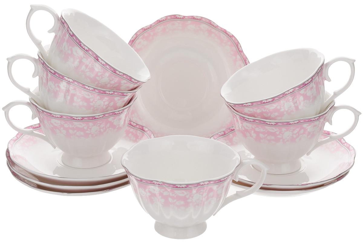 Набор чайный Elan Gallery Розовое кружево, 12 предмета420081Чайный набор Elan Gallery Розовое кружево состоит из 6 чашек и 6 блюдец. Изделия, выполненные из высококачественной керамики, имеют элегантный дизайн и классическую форму. Такой набор прекрасно подойдет как для повседневного использования, так и для праздников. Чайный набор Elan Gallery Розовое кружево - это не только яркий и полезный подарок для родных и близких, а также великолепное решение для вашей кухни или столовой. Не использовать в микроволновой печи. Объем чашки: 220 мл. Диаметр чашки по верхнему краю: 10,5 см. Высота чашки: 7 см. Диаметр блюдца по верхнему краю: 15 см. Высота блюдца: 2,5 см.