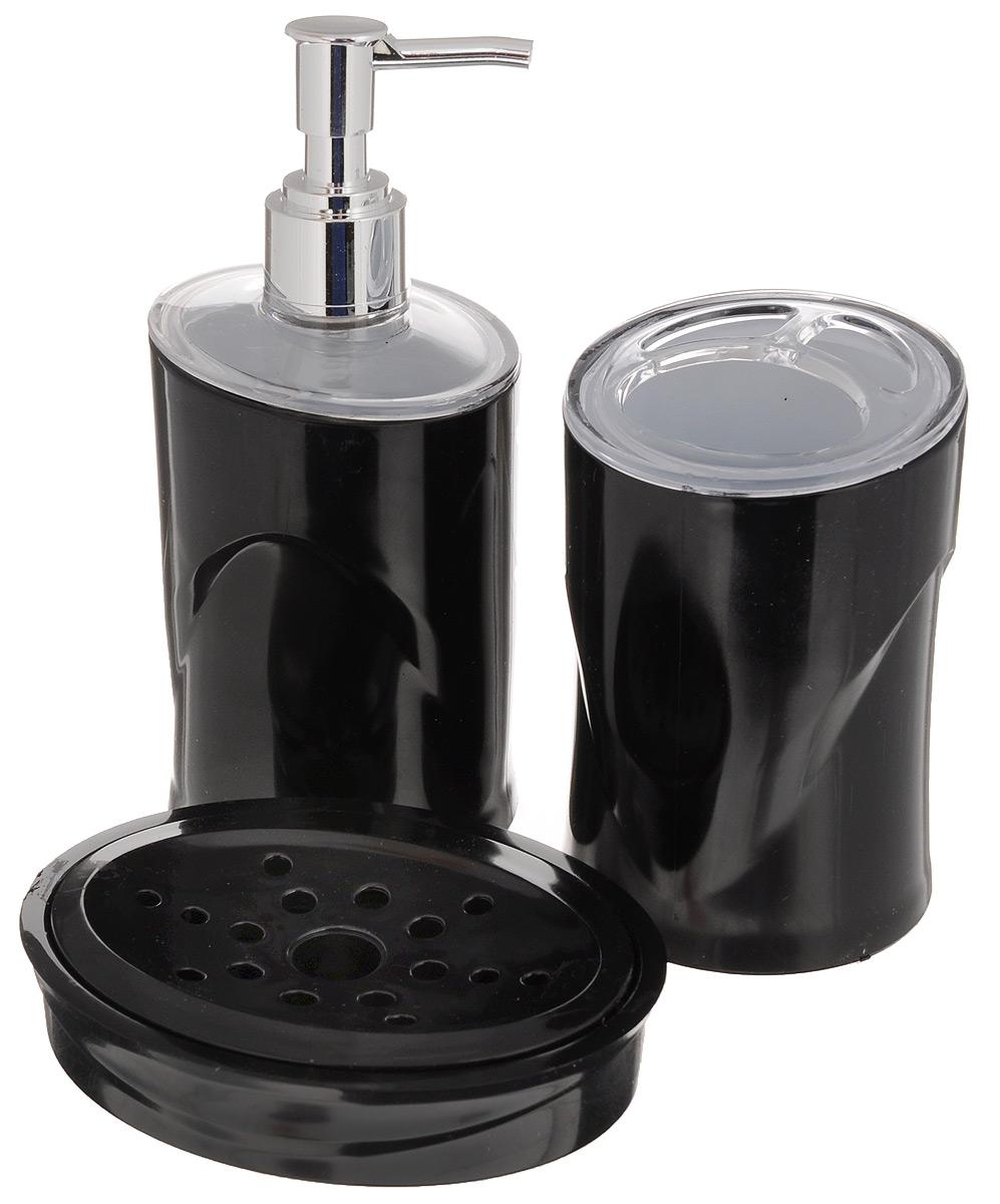 Набор для ванной комнаты Indecor, цвет: черный, 3 предметаPH3359Набор для ванной комнаты Indecor состоит из стакана для зубных щеток, дозатора для жидкого мыла и мыльницы. Стакан, дозатор и мыльница изготовлены из высококачественного полистирола. Аксессуары, входящие в набор Indecor, выполняют не только практическую, но и декоративную функцию. Они способны внести в помещение изысканность, сделать пребывание в нем приятным и даже незабываемым. Размер стакана для щеток: 7 х 7 х 11 см. Размер дозатора: 7 х 7 х 17,5 см. Размер мыльницы: 11,5 х 9 х 3 см.
