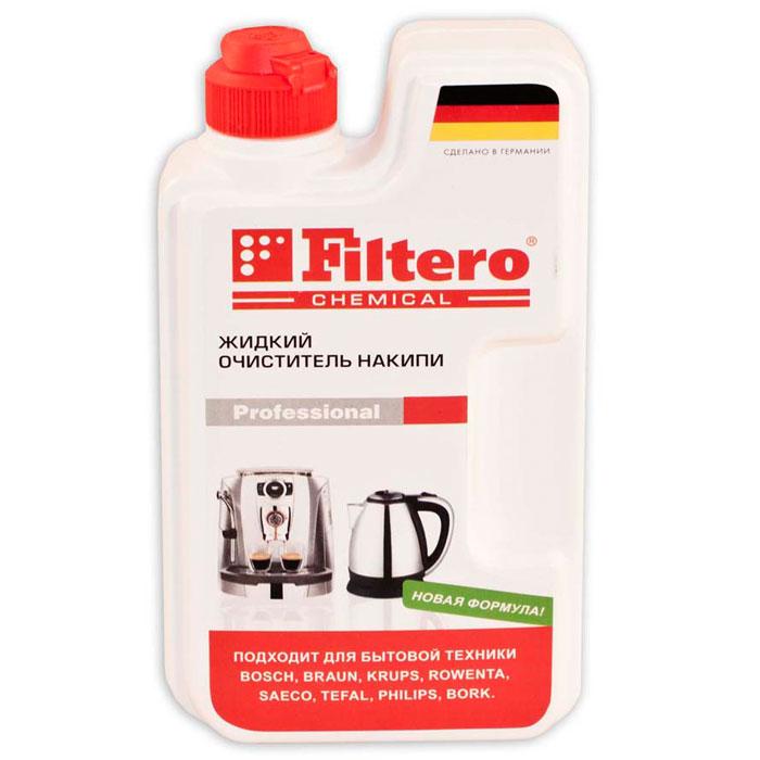 Filtero жидкий очистель накипи, 250 мл605Универсальный очиститель накипи Filtero подходит для использования во всех типах приборов с нагревательными элементами, таких как чайники, термопоты, кофеварки, утюги, пароварки, бойлеры. А так же для всех типов кофеварок и кофемашин. Можно использовать для продукции фирм AEG, Bosch, DeLonghi, Jura, Krups, Rowenta, Tefal, Philips, Saeco. Благодаря жидкой форме быстро и максимально эффективно удаляет накипь, не причиняя вреда бытовой технике. Состав: амидо серная кислота, лимонная кислота