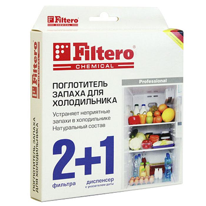 Filtero поглотитель запаха для холодильника, 2 шт + диспенсер504Поглотитель запаха для холодильников Filtero быстро и надежно устраняет неприятные запахи. Содержит активированный уголь и крахмаловую пропитку. Полностью поглощает даже резкие запахи чеснока, лука, сыра и рыбы. Не имеет собственного запаха. В комплекте 2 фильтра и диспенсер с возможностью установки даты. Фильтр рассчитан на использование в течение около 2-х месяцев. После этого срока необходимо заменить фильтр в диспенсере. Набор: два фильтра и диспенсер с установкой даты