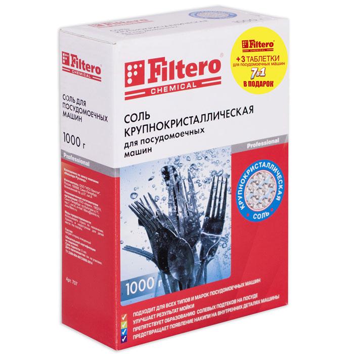 Filtero Соль для посудомоечной машины, 1 кг + 3 таблетки для посудомоечной машины707Соль крупнокристаллическая Filtero для посудомоечных машин в комплекте с тремя таблетками Filtero 7 в 1 подходят для всех типов и марок посудомоечных машин. Улучшает результат мойки Препятствует образованию солевых подтеков на посуде Предотвращает появление накипи на внутренних деталях машины Назначение: смягчает воду, улучшает действие средств для мытья посуды, препятствует образованию известкового налета и накипи на внутренних деталях посудомоечной машины, обладает антикоррозийным эффектом.