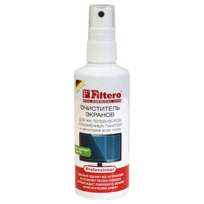 Filtero спрей-очиститель для экранов, 125 мл101Очиститель экранов Filtero не содержит спирта и специально разработан для очистки экранов TFT / LCD, плазменных панелей, экранов ноутбуков и КПК, плоских экранов и любых стеклянных поверхностей с покрытиями, либо без. Быстро и бережно очищает поверхность. Без спирта, не оставляет разводов, не наносит вреда экранам, линзам и защитным пленкам экранов мобильных телефонов. Каждый пользователь современной техники сталкивался с необходимостью ее протирать и очищать. И каждый, кто использовал специальные составы, знает, как важно, чтобы средство не наносило вред и не имело запаха. Для того, чтобы очистить, не нанести вред экрану и себе, вы можете использовать специальный очиститель экранов Filtero.