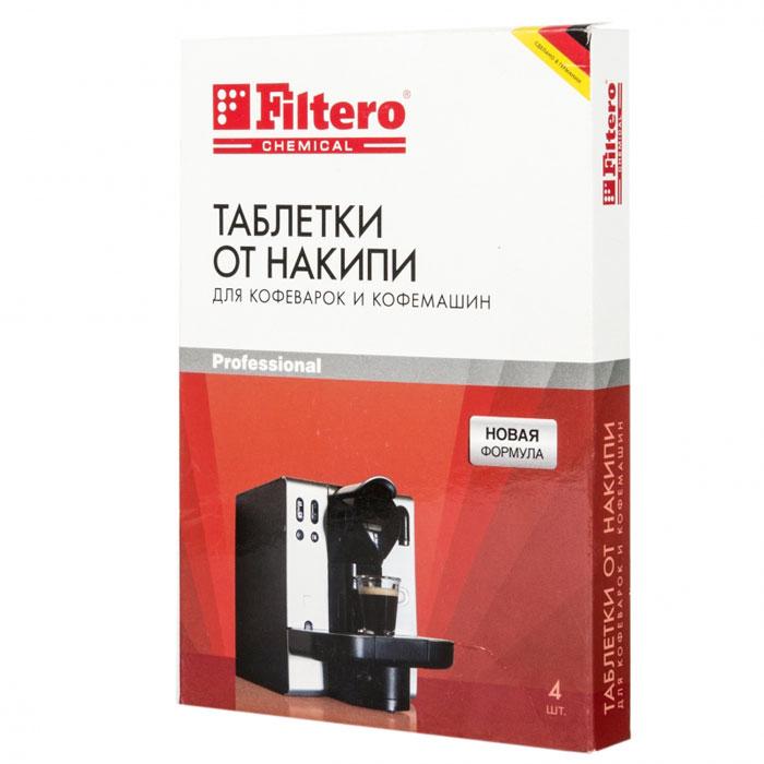 Filtero Таблетки для очистки кофемашин от накипи, 4 шт602Таблетки от накипи Filtero разработаны специально для кофемашин. Они обеспечивают быстрое и тщательное удаление известкового налета с труднодоступных частей кофемашины. Таблетки Filtero подходят для всех автоматических кофемашин. Кофемашины с автоматической программой очистки: загрузите таблетку Filtero в кофемашину и проведите чистку согласно инструкции производителя Кофемашины без автоматической программы очистки: растворите таблетку Filtero в 500 мл воды. Вылейте раствор в резервуар для воды. Включите программу приготовления кофе. После чистки от накипи ополосните внутренние части машины, запустив 2-3 раза кофеварку на полный цикл с чистой водой. Размер таблетки 36 х 26 х 7 мм