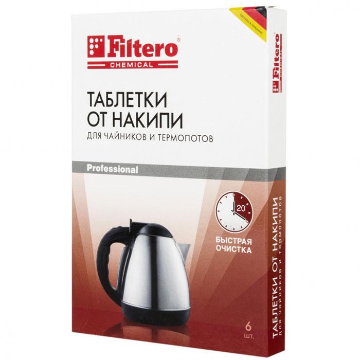Filtero Таблетки для очистки чайников от накипи, 6 шт604Таблетки от накипи Filtero предназначены специально для чайников и термопотов. Улучшенная формула позволяет быстро удалить даже сильно окаменевший известковый налет. Очищение ваших бытовых приборов от накипи и известковых отложений продлевает срок эксплуатации ваших приборов и предотвращает различные повреждения. Способ применения: наполнить чайник на 3/4 объема водой и вскипятить. Поместить таблетку Filtero в чайник и оставить на 20 минут. При сильном окаменении известкового налета использовать две таблетки. Раствор вылить, оборудование тщательно прополоскать чистой водой. Таблетки подходят для всех приборов с металлическим нагревательным элементом (материал самого прибора значения не имеет). Состав: сульфаминовая кислота, сульфат натрия, карбонат натрия, адипиновая кислота, бикарбонат натрия.