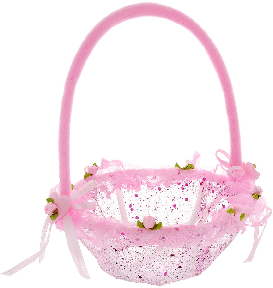 Корзинка декоративная Home Queen В подарок, цвет: розовый, 15 х 15 х 20 см60468_ розовыйДекоративная корзинка Home Queen В подарок имеет пластиковый каркас и обтянута сетчатым полиэстером. Корзинка украшена рюшами и блестками. Основание ручки декорировано сердечками и бантиками. Красивая корзинка станет милым сувениром и порадует получателя. Может послужить как подарочная упаковка для подарка или как аксессуар для хранения бытовых вещей и предметов для рукоделия.