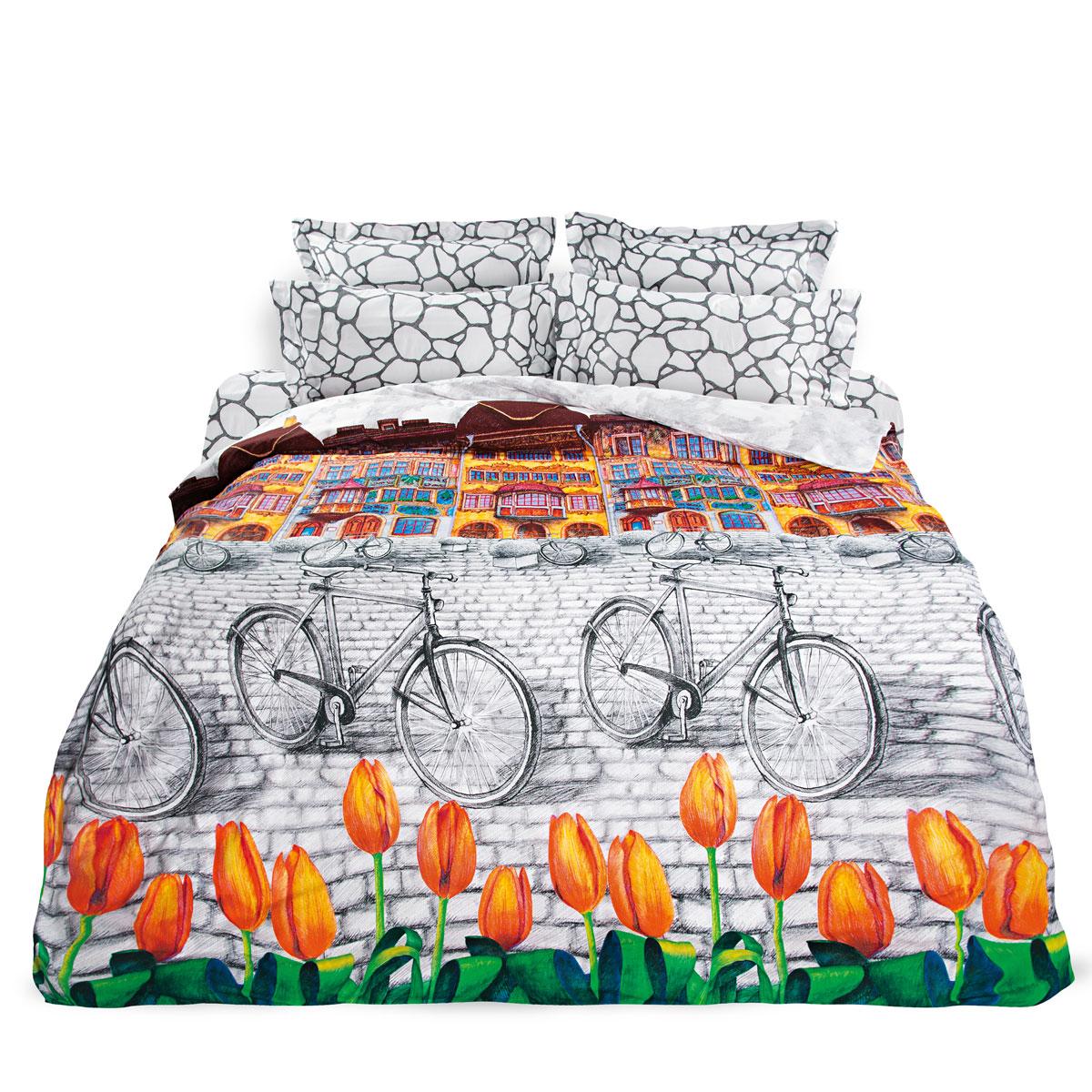 Комплект белья Унисон Голландский уголок, 1,5 спальное, наволочки 70 х 70, цвет: серо-белый. 276913276913Постельное белье торговой марки «Унисон Биоматин» - это домашний текстиль премиум класса с эксклюзивными дизайнами в разнообразных стилистических решениях. Комплекты данной серии выполнены из ткани «биоматин» - это 100% хлопок высочайшего качества, мягкий, тонкий и легкий, но при этом прочный, долговечный и очень практичный, с повышенным показателем износостойкости, обладающий грязе- и пылеотталкивающими свойствами, долго сохраняющий чистоту и свежесть постельного белья, гипоаллергенный.