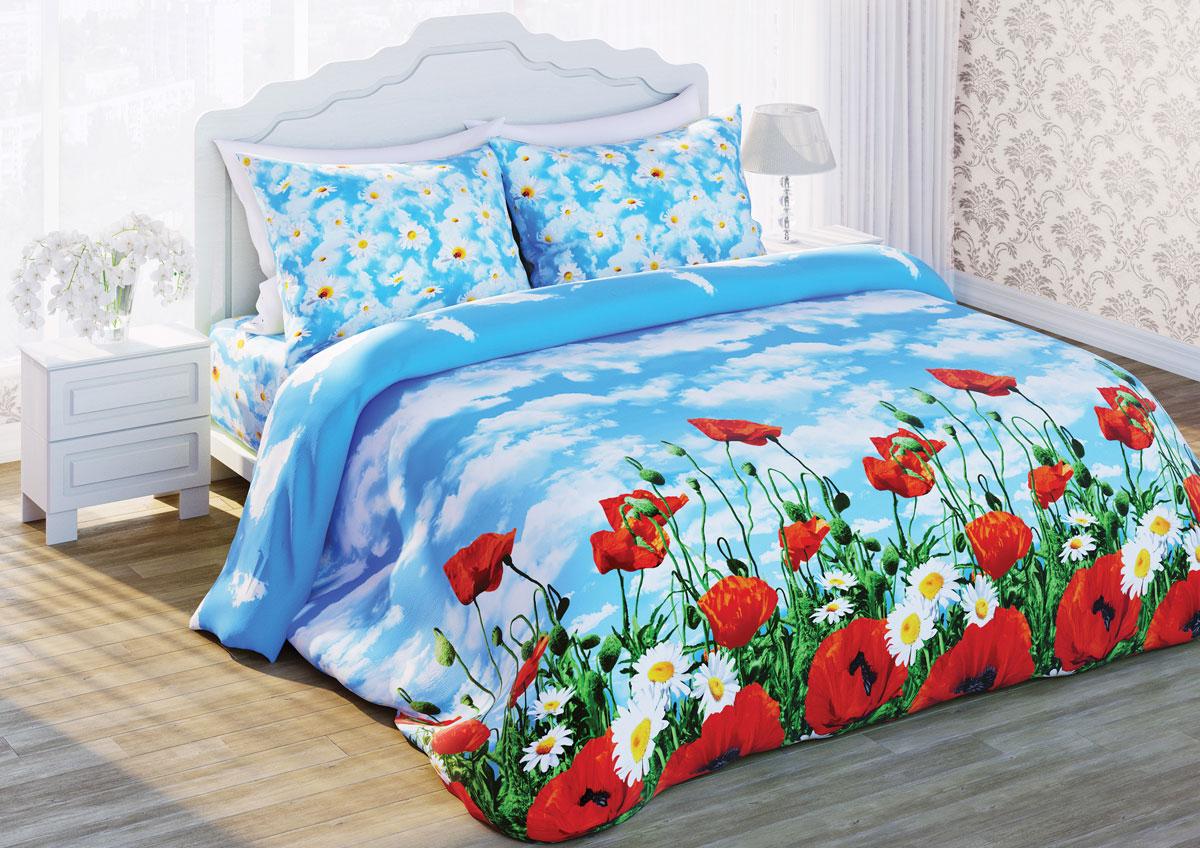 Комплект белья Любимый дом Солнечный мак, 2-х спальное, наволочки 70 х 70, цвет: голубой. 285755285755Постельное белье торговой марки «Любимый дом» - это идеальное сочетание доступной цены и высокого качества продукции. Серия «Любимый дом 3D» выполнена в технике объемного трехмерного изображения: объемные рисунки очень яркие, насыщенные и реалистичные. Коллекция выполнена из традиционной отечественной бязи с высоким показателем износостойкости: такое постельное белье очень прочное и долговечное, не деформируется при стирках и прослужит долгие годы.