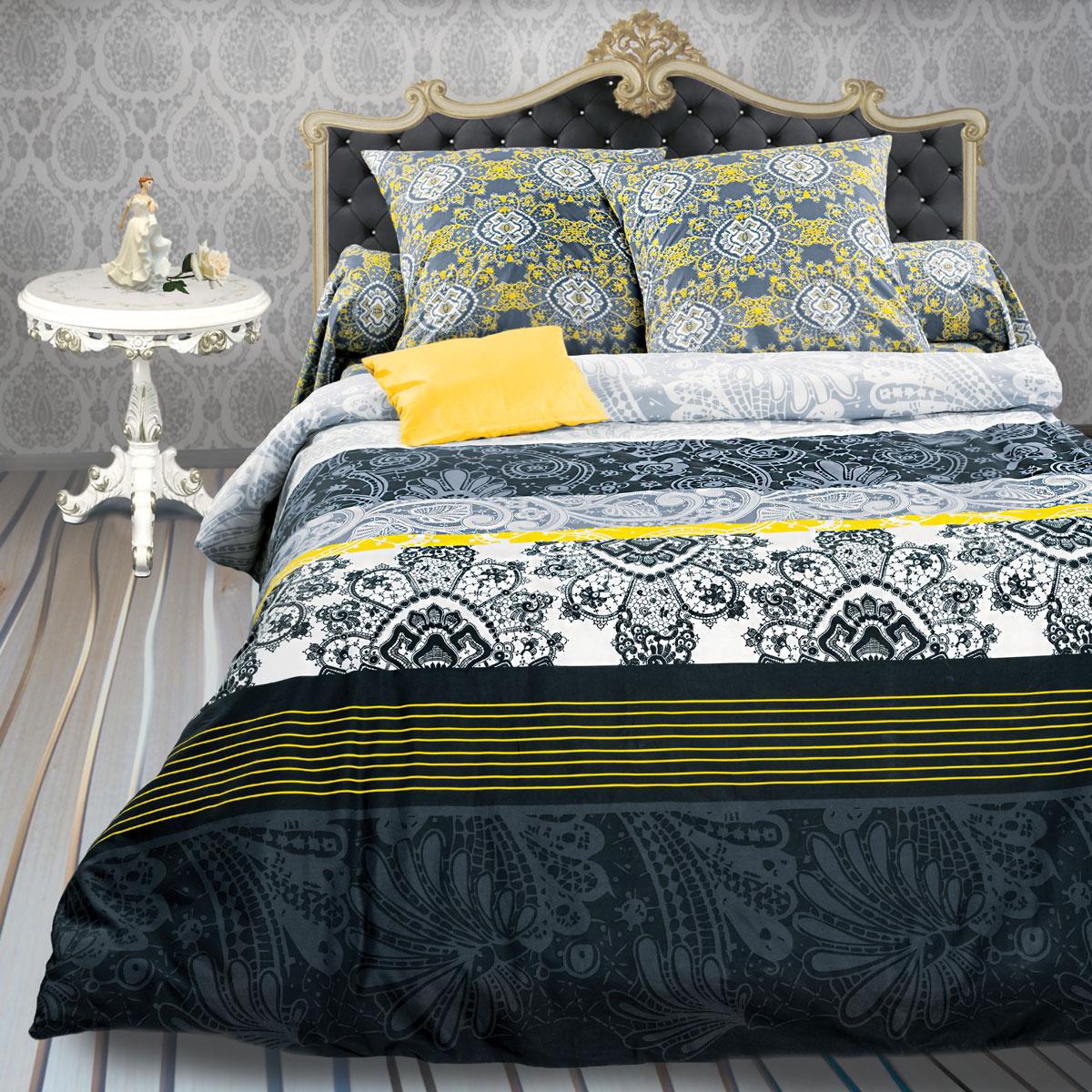 Комплект белья Унисон Ажур, евро, наволочки 70 х 70, цвет: черный. 286045286045Постельное белье торговой марки «Унисон Биоматин» - это домашний текстиль премиум класса с эксклюзивными дизайнами в разнообразных стилистических решениях. Комплекты данной серии выполнены из ткани «биоматин» - это 100% хлопок высочайшего качества, мягкий, тонкий и легкий, но при этом прочный, долговечный и очень практичный, с повышенным показателем износостойкости, обладающий грязе- и пылеотталкивающими свойствами, долго сохраняющий чистоту и свежесть постельного белья, гипоаллергенный.