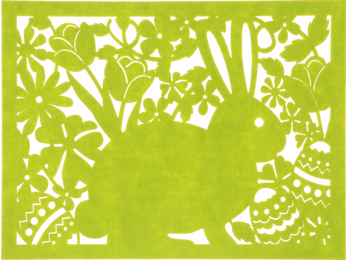 Салфетка Home Queen Кролик, цвет: зеленый, 40 х 30 см64497_2Квадратная салфетка Home Queen Кролик изготовлена из фетра и оформлена изысканной перфорацией в виде кролика и цветочных узоров. Такая салфетка прекрасно подойдет для украшения интерьера кухни, она сбережет стол от высоких температур и грязи.