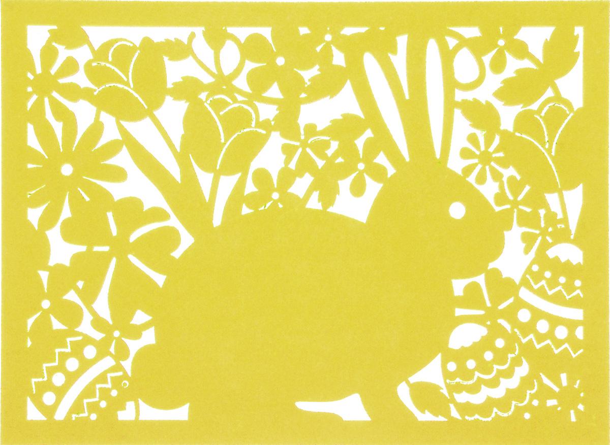 Салфетка Home Queen Кролик, цвет: желтый, 40 х 30 см64497_4Квадратная салфетка Home Queen Кролик изготовлена из фетра и оформлена изысканной перфорацией в виде кролика и цветочных узоров. Такая салфетка прекрасно подойдет для украшения интерьера кухни, она сбережет стол от высоких температур и грязи.