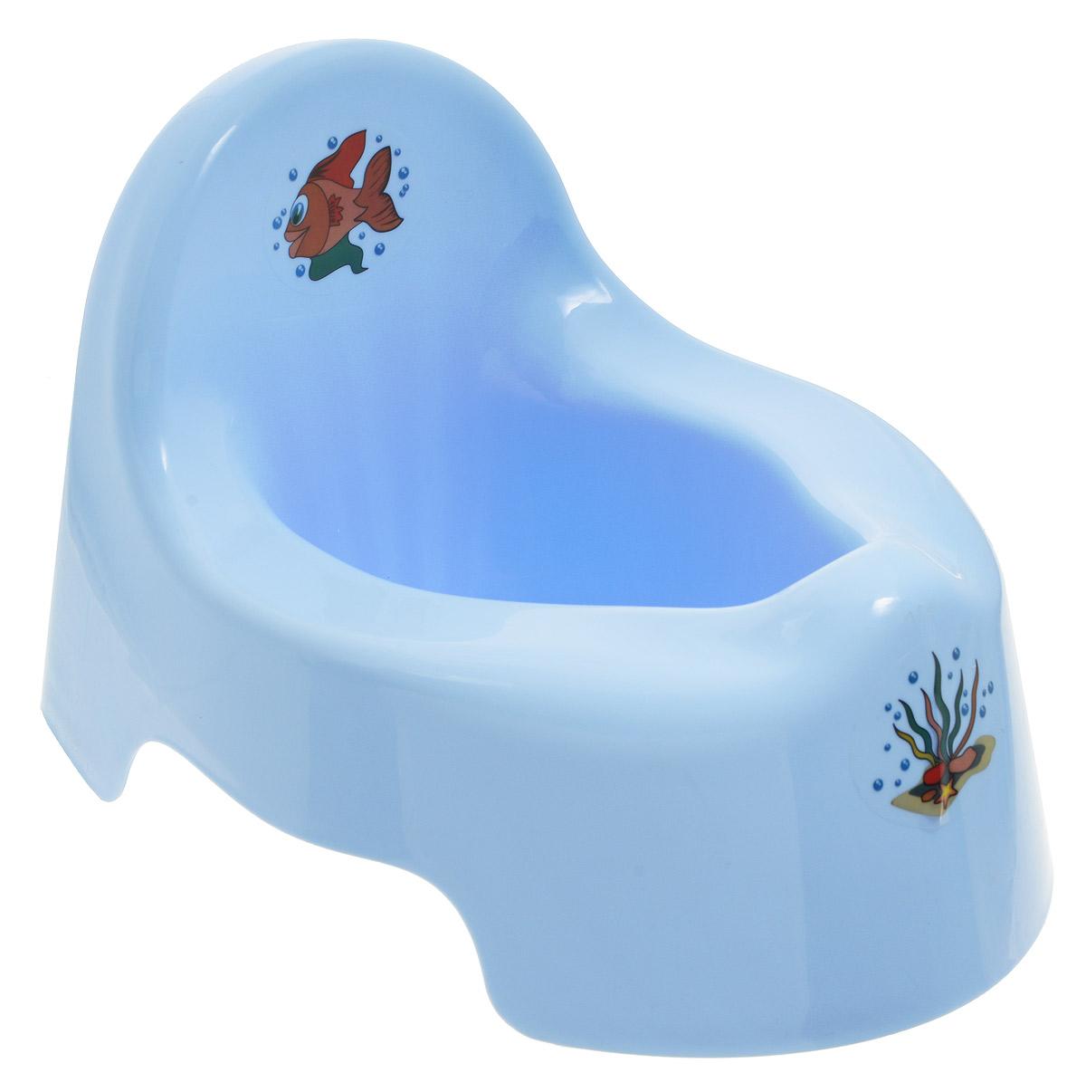 Idea Горшок детский цвет голубойМ 2595_голубойДетский горшок Idea голубого цвета выполнен из безопасного полипропилена, без содержания токсичных элементов. Анатомическая форма сиденья повторяет контуры тела ребенка, что обеспечивает ему максимальный комфорт. Горшок очень легкий, имеет гладкую закругленную поверхность, которую легко мыть, его легко переносить. Спинка оформлена изображением симпатичной рыбки. Детский горшок Idea прекрасно подойдет для приучения ребенка к горшку и отказу от подгузников.