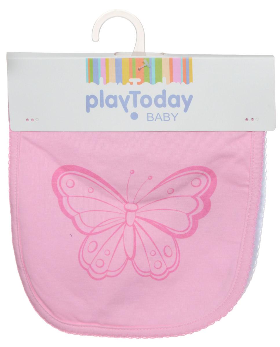 PlayToday Нагрудник детский Baby цвет белый розовый 2 шт168810Нагрудник детский PlayToday Baby защитит одежду вашего малыша во время прорезывания зубов или в тех случаях, когда он случайно что-то прольет, опрокинет или неаккуратно поест. Нагрудник выполнен из 100% хлопка. Лицевая сторона оформлена рисунком в виде бабочки. В комплекте 2 нагрудника белого и розового цветов. Уход: ручная стирка, не подлежит стирке в стиральной машине, гладить слегка нагретым утюгом.