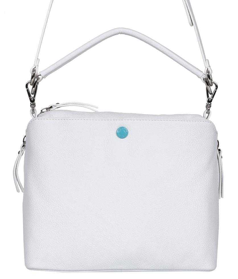 Сумка женская Palio, цвет: белый. 14422A-06514422A-065 whiteЖенская сумка Palio из натуральной кожи белого цвета. Внутри:карман на молнии, два кармана для мелочей. На лицевой стороне карман,закрывается на скрытый магнитный клапан.Сумка закрывается на пластиковую молнию.Фурнитура - серебро . Кожа мягкая, форма изменяется соответственно наполнению. Размеры меньше формата А4.Сумка носится в руке и на плече.В комплектацию входит наплечный ремень.