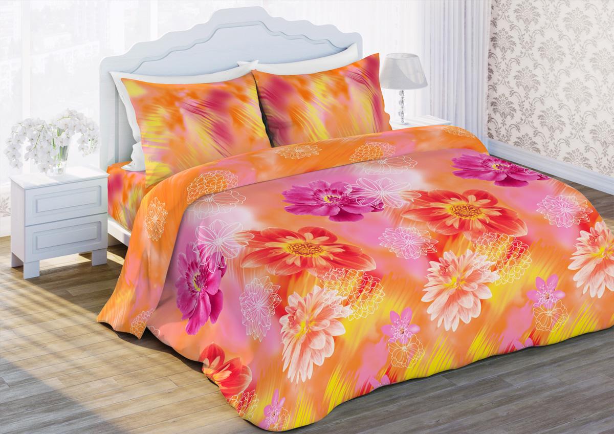 Комплект белья Любимый дом Восторг, 1,5-спальный, наволочки 70х70, цвет: желтый, оранжевый. 317216