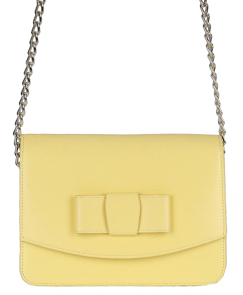 Сумка женская Galaday, цвет: желтый. GD4952QGD4952Q-yellowЖенская сумка GALADAY из натуральной кожи. Имеет откидную часть, закрывающуюся на магнитную кнопку. Внутри: одно отделение, на боковых стенках расположены открытый карман для мелочей и два кармана на молнии. Сумка носится на плече. Размеры не вмещают формат А4. Кожа плотная, форму держит. Аксессуар декорирован кожаным бантом, на лицевой стороне сумки. Фурнитура блестящее золото.