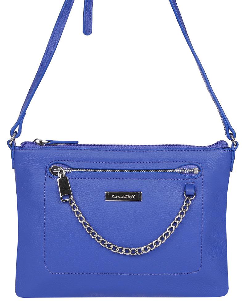 Сумка женская Galaday, цвет: синий. GD6006GD6006-blueСтильная женская сумка Galaday выполнена из натуральной кожи с фактурным тиснением. Изделие содержит одно отделение, которое закрывается на застежку-молнию. Внутри расположено два накладных кармашка для мелочей и один врезной карман на молнии. Снаружи, на лицевой и тыльной сторонах сумки расположен врезной карман на застежке-молнии. Сумка оснащена удобным плечевым ремнем, который можно регулировать по длине. Оригинальный аксессуар позволит вам завершить образ и быть неотразимой.