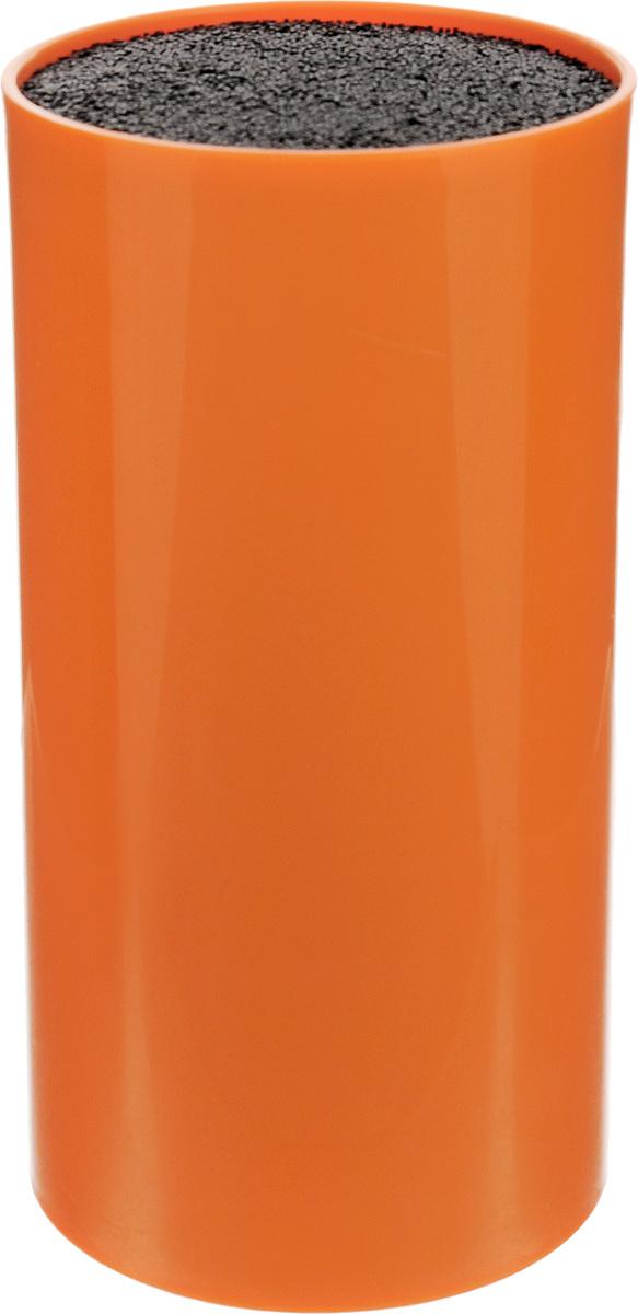 Подставка для ножей Mayer & Boch, цвет: оранжевый, черный, высота 22,5 см. 2489424894Подставка для ножей Mayer & Boch представляет собой емкость с гибкими пластиковыми стержнями внутри. Это позволяет хранить ножи любой формы, вне зависимости от их размеров или формы среза. Размещайте ножи в любом месте блока-подставки, просто воткнув их в нее. Вы также можете комбинировать ножи из разных наборов. Цветной пластиковый корпус подставки имеет покрытие (внутреннее и внешнее) из термопластичной резины. Подставка сохранит остроту ножей за счет того, что ножи не царапаются об нее. Имеются специальные отверстия для стока воды. Эта легкая, безопасная и удобная подставка послужит прекрасным подарком. Можно мыть в посудомоечной машине.