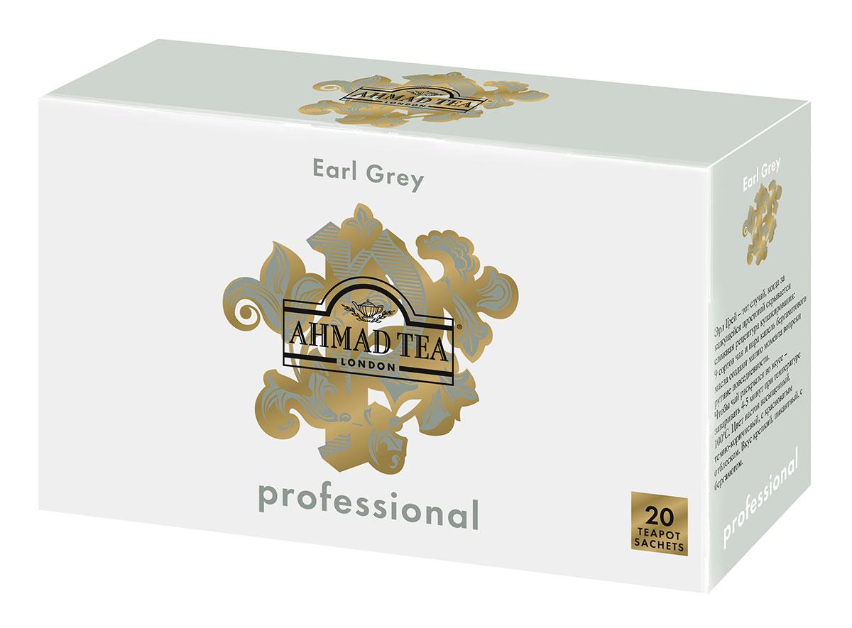 Ahmad Tea Professional Эрл Грей чай черный листовой с бергамотом в фильтр-пакетах для заваривания в чайнике, 20 шт1586Эрл Грей – тот случай, когда за кажущейся простотой скрывается сложная рецептура купажирования: 9 сортов чая и пара капель бергамотового масла создают магию момента вопреки рутине повседневности. Чтобы чай раскрылся во вкусе – заваривать 4-5 минут при температуре 100°С. Цвет настоя насыщенный, темно-коричневый, с красноватым отблеском. Вкус крепкий, пикантный, с бергамотом.
