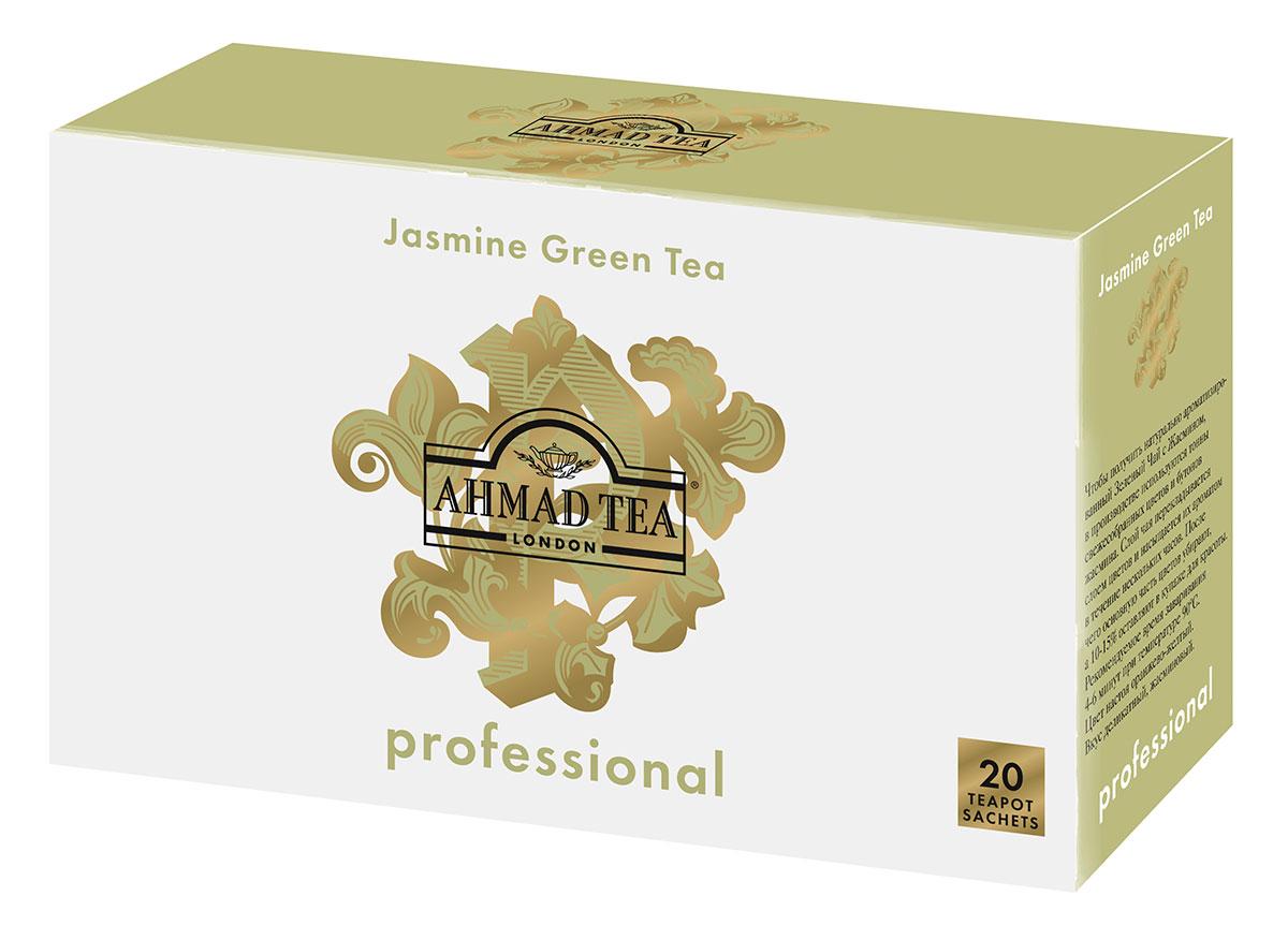 Ahmad Tea Professional Зеленый листовой чай с жасмином в фильтр-пакетах для заваривания в чайнике, 20 шт1589Чтобы получить натурально ароматизированный зеленый чай с жасмином, в производстве используются тонны свежесобранных цветов и бутонов жасмина. Слой чая перекладывается слоем цветов и насыщается их ароматом в течение нескольких часов. После чего основную часть цветов убирают, а 10-15% оставляют в купаже для красоты. Цвет настоя оранжево-желтый. Вкус деликатный, жасминовый.