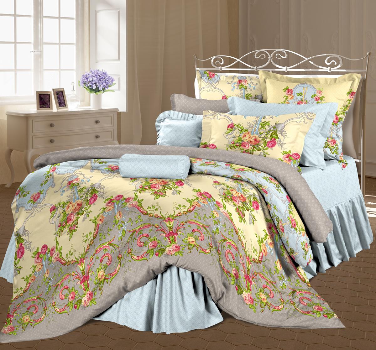 Комплект белья Романтика Антуанетта, евро, наволочки 50х70, цвет: голубой, зеленый, розовый. 319499319499Роскошный комплект постельного белья Романтика Антуанетта выполнен из ткани Lux Перкаль, произведенной из натурального 100% хлопка. Ткань приятная на ощупь, при этом она прочная, хорошо сохраняет форму и легко гладится. Комплект состоит из пододеяльника, простыни и двух наволочек, оформленных цветочным принтом и узорам. Благодаря такому комплекту постельного белья вы создадите неповторимую и романтическую атмосферу в вашей спальне.
