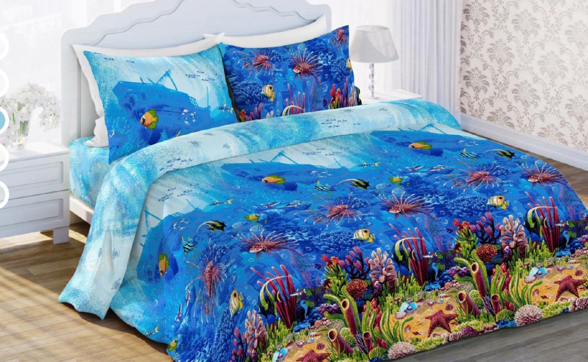 Комплект белья Любимый дом Морской мир, 1,5 спальное, наволочки 70 х 70, цвет: синий. 327639327639Постельное белье торговой марки «Любимый дом» - это идеальное сочетание доступной цены и высокого качества продукции. Серия «Любимый дом 3D» выполнена в технике объемного трехмерного изображения: объемные рисунки очень яркие, насыщенные и реалистичные. Коллекция выполнена из традиционной отечественной бязи с высоким показателем износостойкости: такое постельное белье очень прочное и долговечное, не деформируется при стирках и прослужит долгие годы.