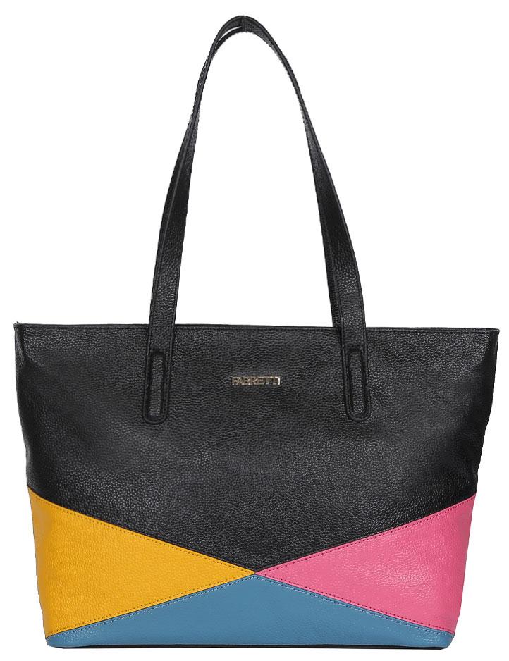 Сумка женская Fabretti, цвет: черный, голубой, розовый. N2545N2545-blackСтильная сумка Fabretti выполнена из натуральной кожи с зернистой фактурой, оформлена цветными вставками и металлической пластиной с логотипом бренда. Изделие содержит одно отделение, закрывающееся на застежку-молнию. Внутри сумки размещены два накладных кармашка для мелочей, карман-средник на молнии и врезной карман на застежке-молнии. Снаружи, на задней стороне сумки, расположен врезной карман на молнии. Сумка оснащена двумя практичными ручками, которые позволят носить изделие, как в руках, так и на плече. Дно изделия оснащено металлическими ножками. В комплекте с изделием поставляется чехол для хранения. Модная сумка идеально подчеркнет ваш неповторимый стиль.