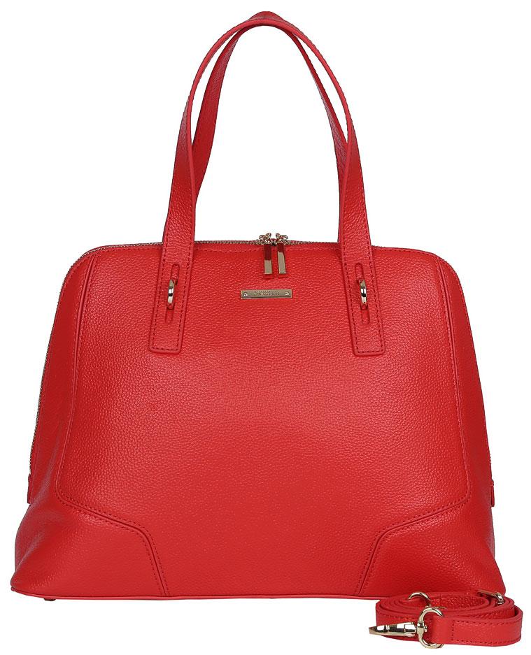 Сумка женская Fabretti, цвет: красный. N2546N2546-redЖенская сумка Fabretti из натуральной кожи. Внутри: одно отделение, на боковых стенках расположены: два открытых кармана для мелочей и два кармана на пластиковой молнии. Сумка застёгивается на металлическую молнию, на дне расположены металлические ножки, что позволяет защитить ее от механических повреждений. Аксессуар вмещает формат А4, выполнен из плотной кожи, держит форму.Фурнитура – золото.Сумка носится в руке или на плече.В комплектацию входит наплечный ремень.
