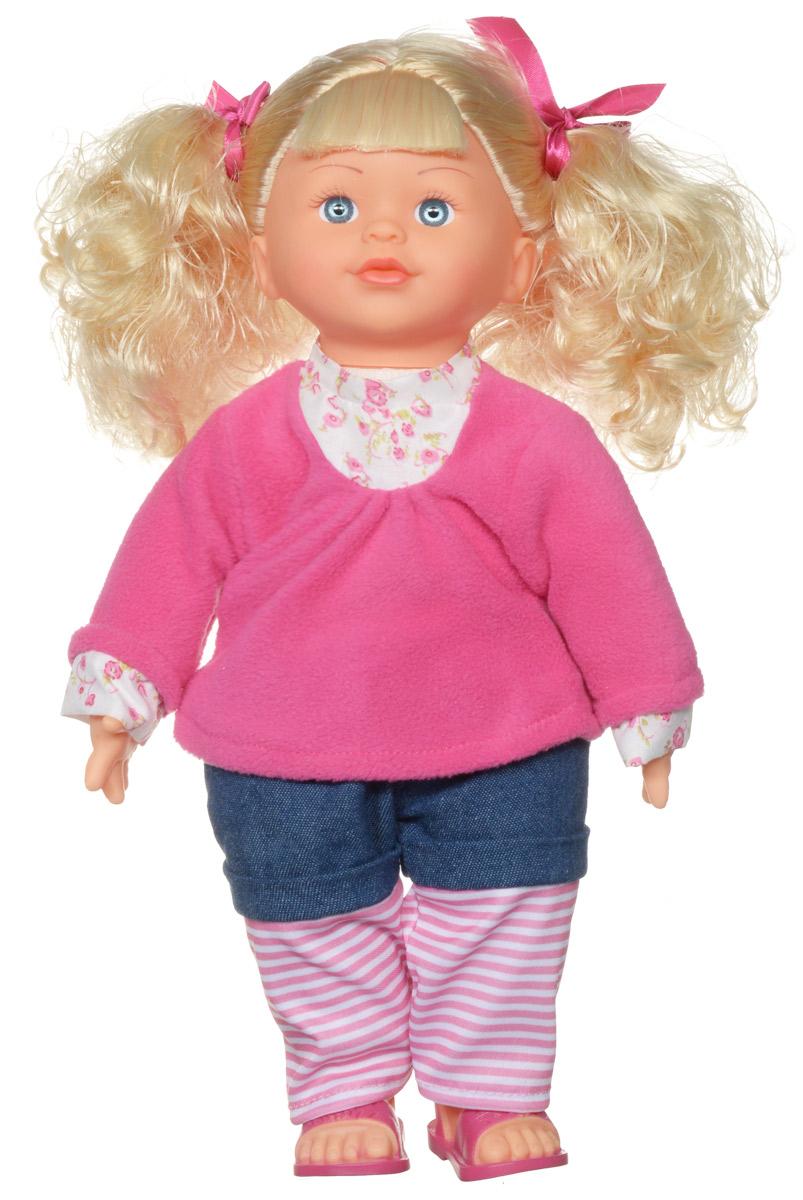 Затейники Кукла интерактивная Моя радость Блондинка цвет одежды розовыйGT7782_блондинка в розовой кофте и брюкахПодарите своей малышке настоящую интерактивную подружку, которая научит произносить скороговорки, петь песенки и говорить некоторые фразы на английском языке. Восхитительная кукла по имени Белинда станет любой девочке самым верным другом. Куколка с длинными светлыми волосами одета в розовую кофточку и штанишки. У разговорчивой Белинды на любой вопрос в запасе есть сразу несколько вариантов ответов. Она с удовольствием расскажет своей маленькой хозяйке множество смешных историй. Куколка научит быстро и правильно произносить скороговорки. А еще она споет свою любимую песенку на английском языке и поможет своей обладательнице освоить иностранные фразы. Интерактивная кукла расскажет, как ее зовут, откуда она приехала и какая у нее самая заветная мечта. Белинда произносит 500 разных фраз. Работает от 3 батареек AA (комплектуется демонстрационными).