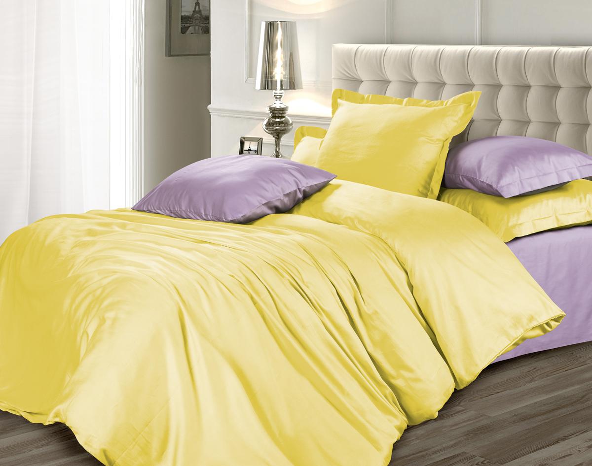 Комплект белья Унисон Лимонный фреш, 2-х спальное, наволочки 70 х 70, цвет: желтый. 329049329049Роскошная коллекция постельного белья из 100% хлопка высшего качества. Мягкий, износостойкий, нежный сатин с благородным шелковистым блеском производится из крученой хлопковой нити по специальной технологии двойного плетения.