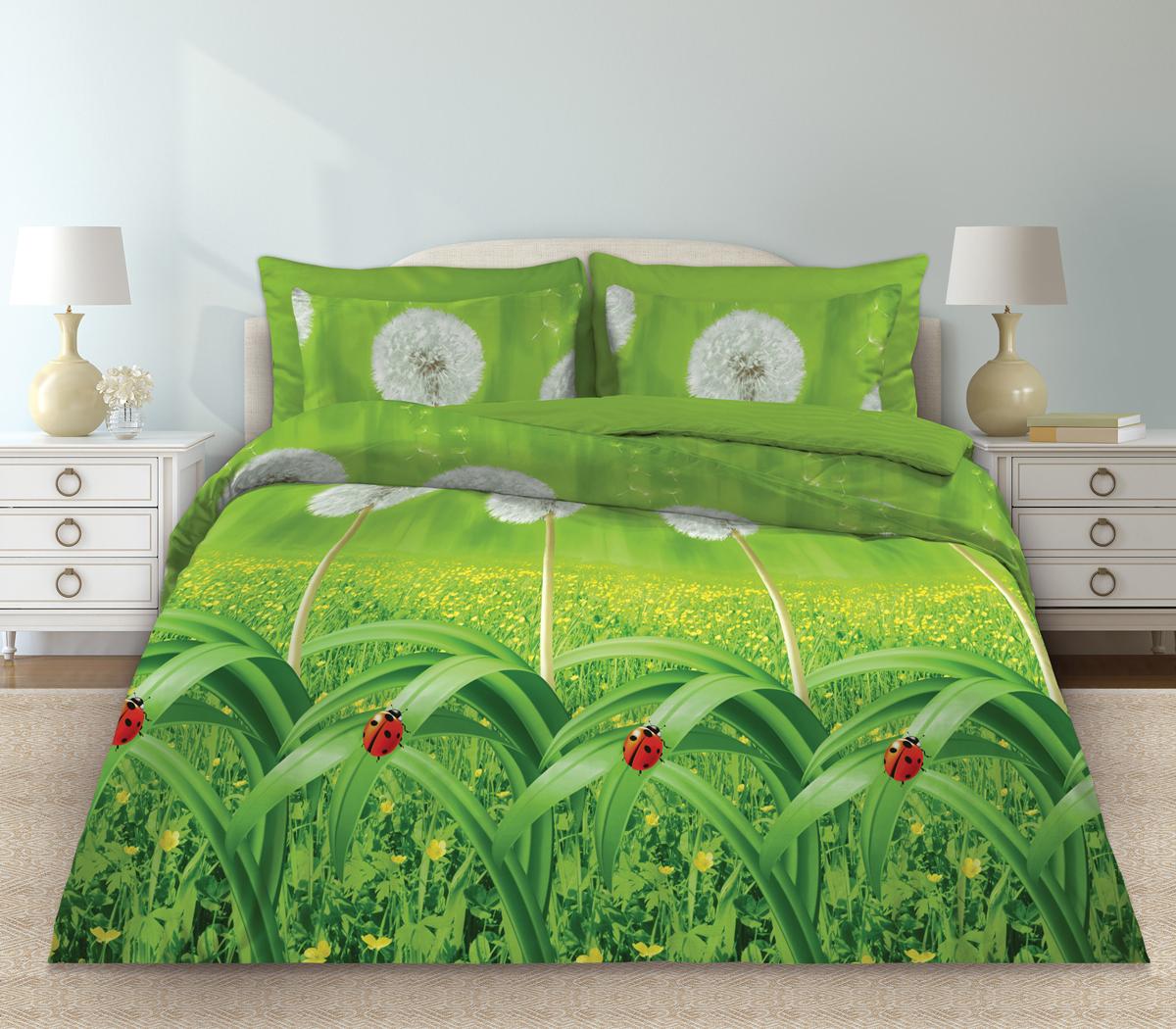 Комплект белья Любимый дом Одуванчики, 2-х спальное, наволочки 70 х 70, цвет: зеленый. 331113331113Комплект постельного белья коллекции «Любимый дом» - выполнен из высококачественной ткани из 100% хлопка. Такое белье абсолютно натуральное, гипоаллергенное, соответствует строжайшим экологическим нормам безопасности, комфортное, дышащее, не нарушает естественные процессы терморегуляции, прочное, не линяет, не деформируется и не теряет своих красок даже после многочисленных стирок, а также отличается хорошей износостойкостью.