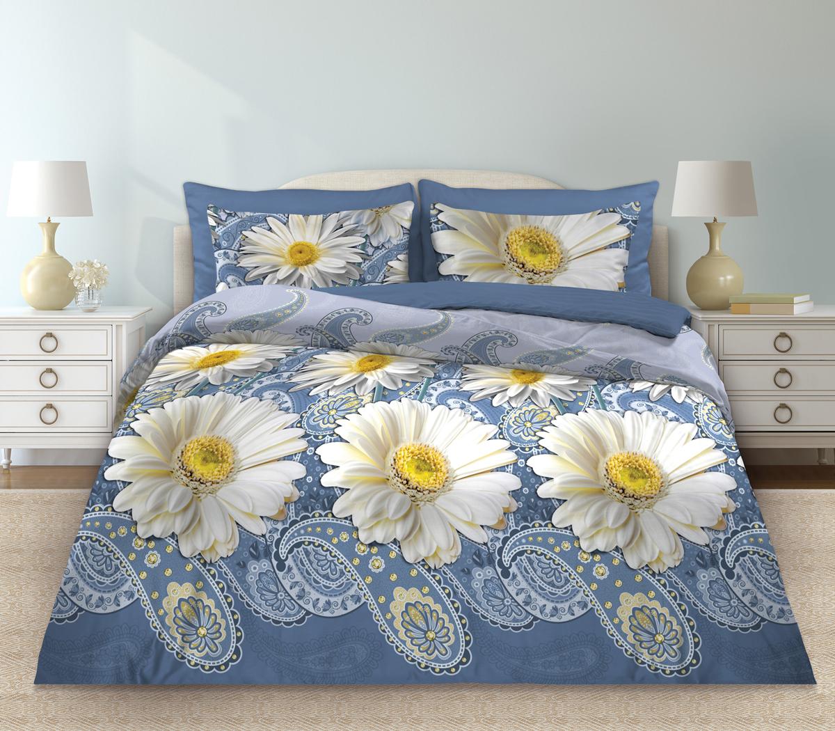 Комплект белья Любимый дом Русский узор, евро, наволочки 70 х 70, цвет: голубой. 331150331150Комплект постельного белья коллекции «Любимый дом» - выполнен из высококачественной ткани из 100% хлопка. Такое белье абсолютно натуральное, гипоаллергенное, соответствует строжайшим экологическим нормам безопасности, комфортное, дышащее, не нарушает естественные процессы терморегуляции, прочное, не линяет, не деформируется и не теряет своих красок даже после многочисленных стирок, а также отличается хорошей износостойкостью.