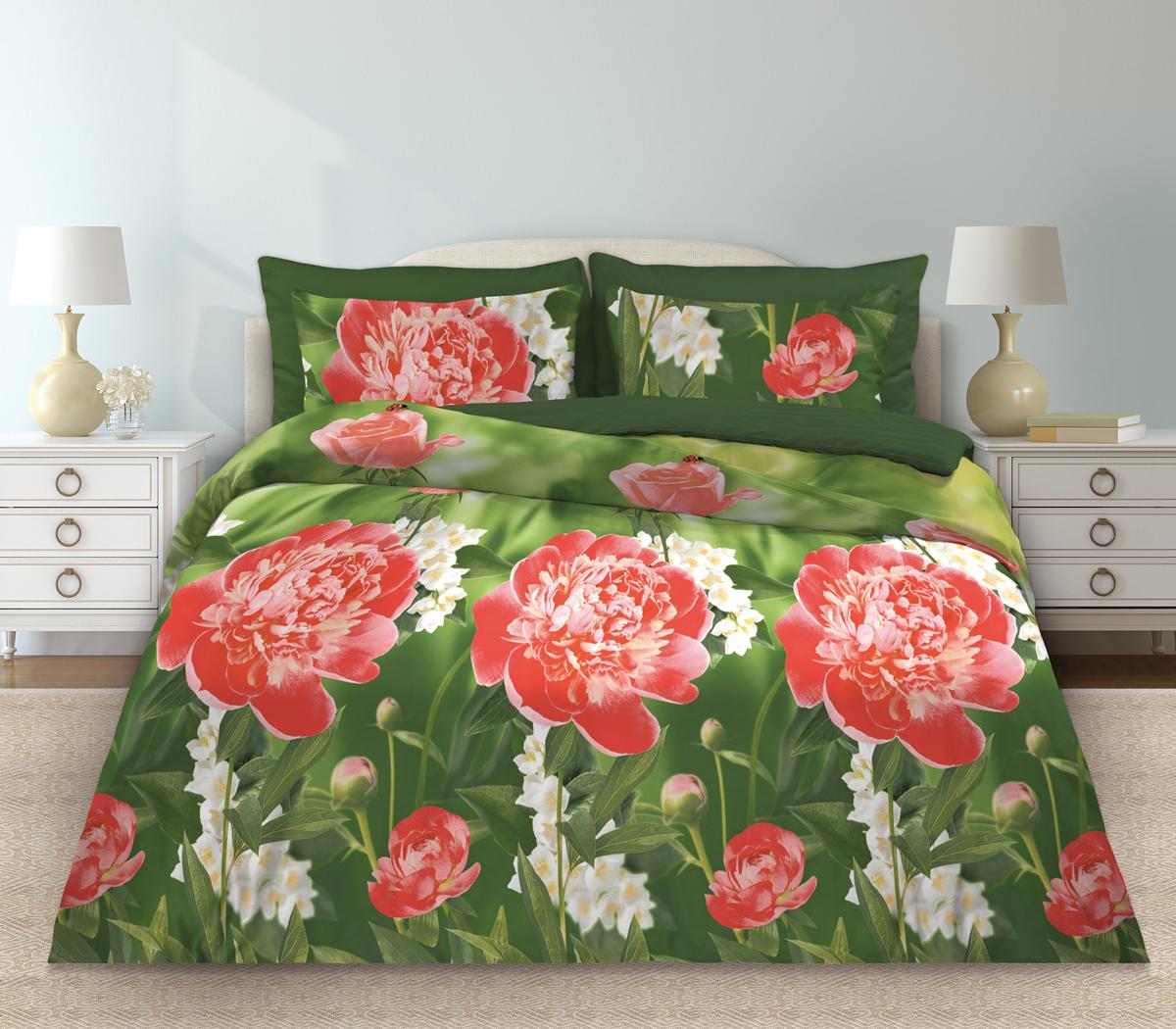 Комплект белья Любимый дом Пионы, евро, наволочки 70 х 70, цвет: розовый. 331152331152Комплект постельного белья коллекции «Любимый дом» - выполнен из высококачественной ткани из 100% хлопка. Такое белье абсолютно натуральное, гипоаллергенное, соответствует строжайшим экологическим нормам безопасности, комфортное, дышащее, не нарушает естественные процессы терморегуляции, прочное, не линяет, не деформируется и не теряет своих красок даже после многочисленных стирок, а также отличается хорошей износостойкостью.
